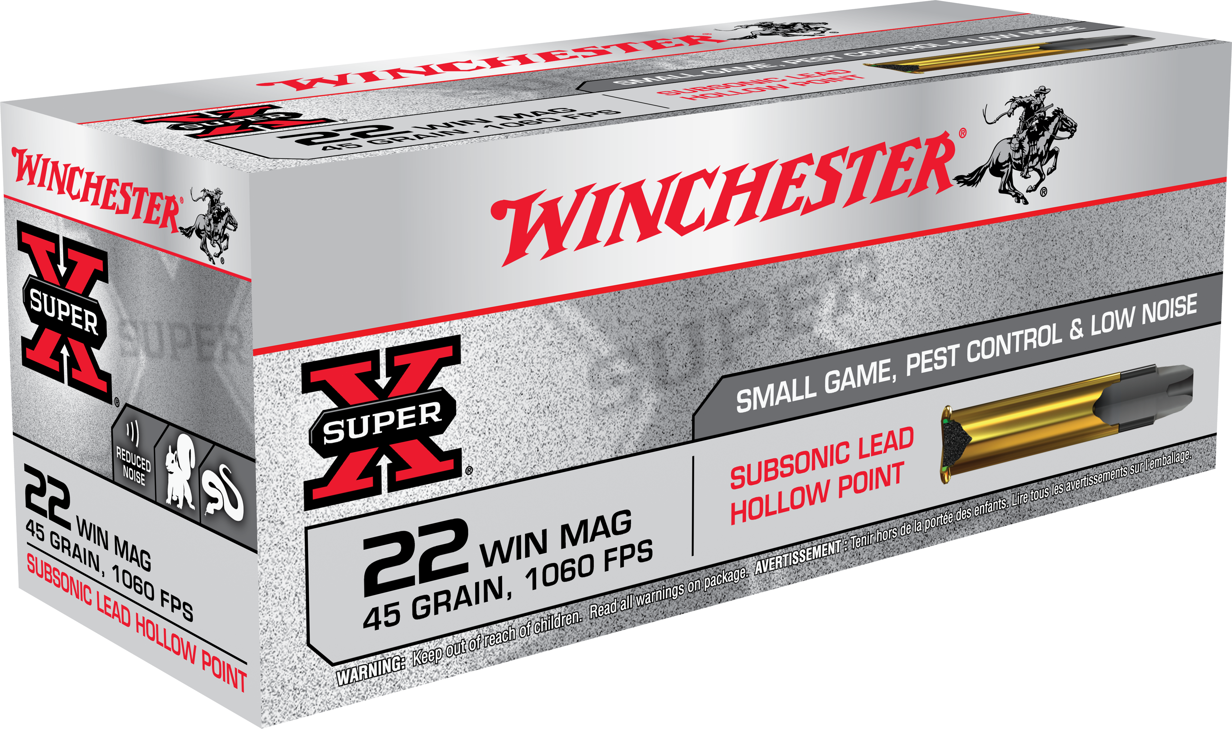 Winchester Super-X Ammunition 22 Winchester Magnum Rimfire (WMR) 45 Grain Sub Sonic Jacketed Hollow Point Per 50