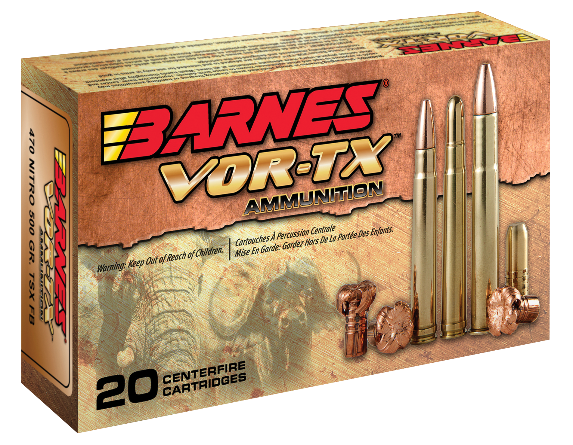 Barnes VOR-TX Safari Ammunition 470 Nitro Express 500GR TSX Hollow Point Flat Base Per 20