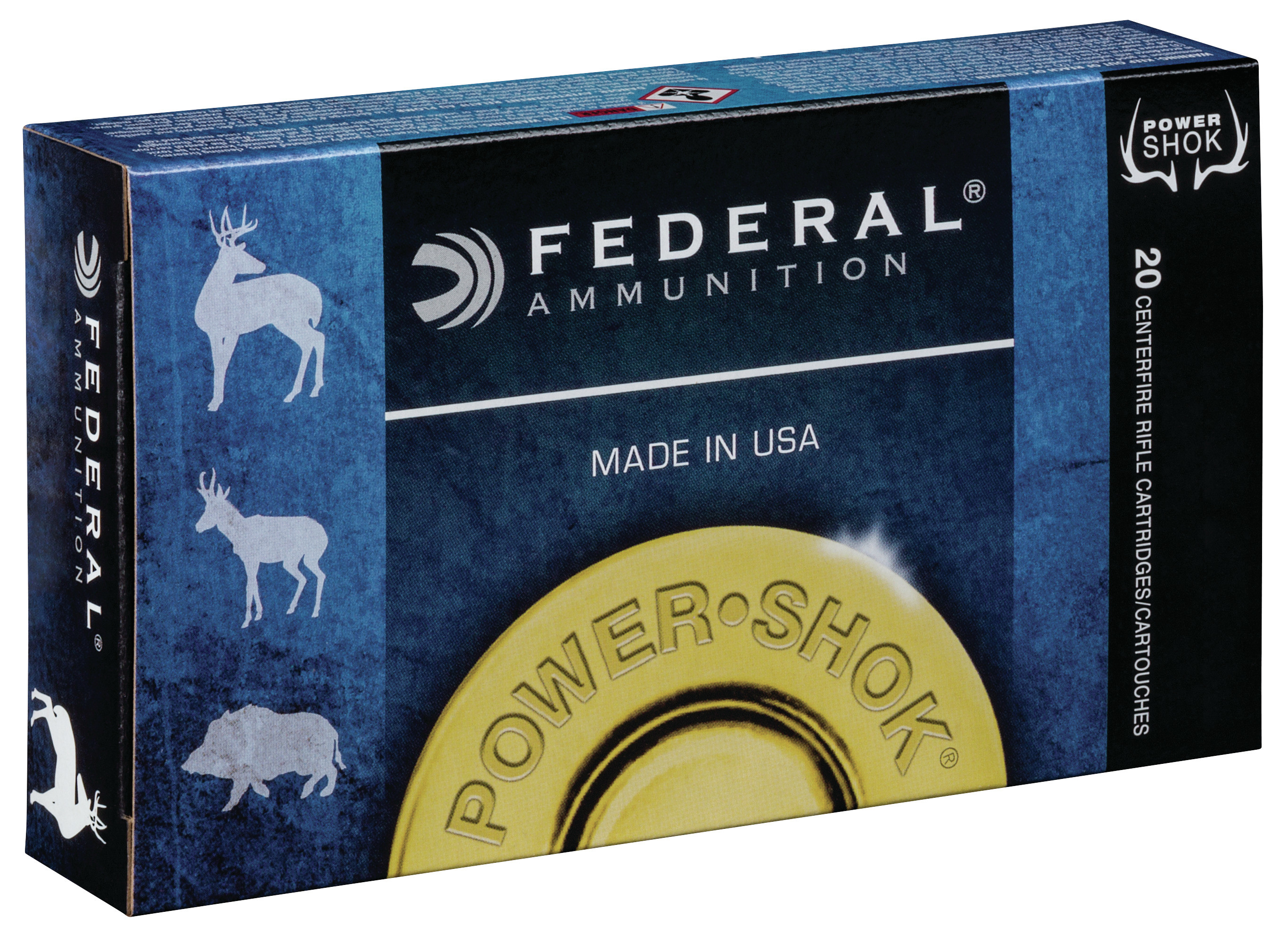 Federal Power-Shok Ammunition 375 H&H Magnum 270GR Jacketed Soft Point Per 20