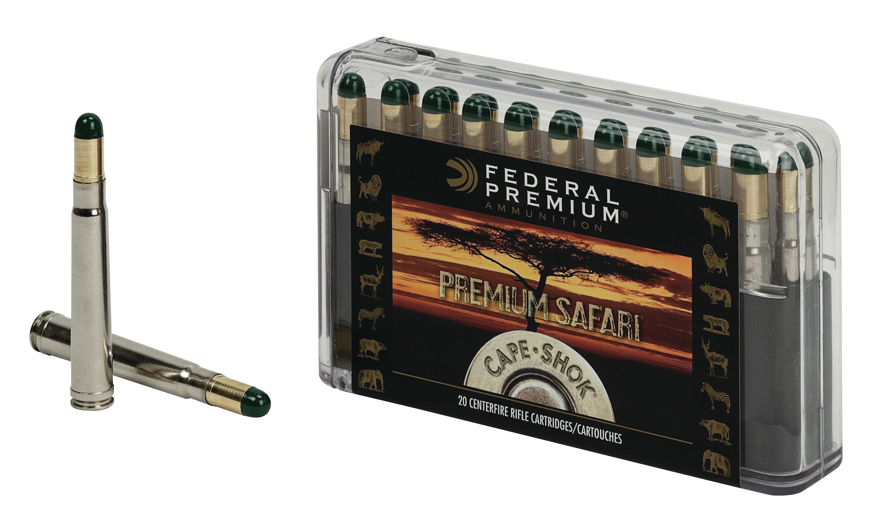 Federal Premium Cape-Shok Ammunition 458 Lott 500GR Woodleigh Hydro Solid Round Nose Per 20