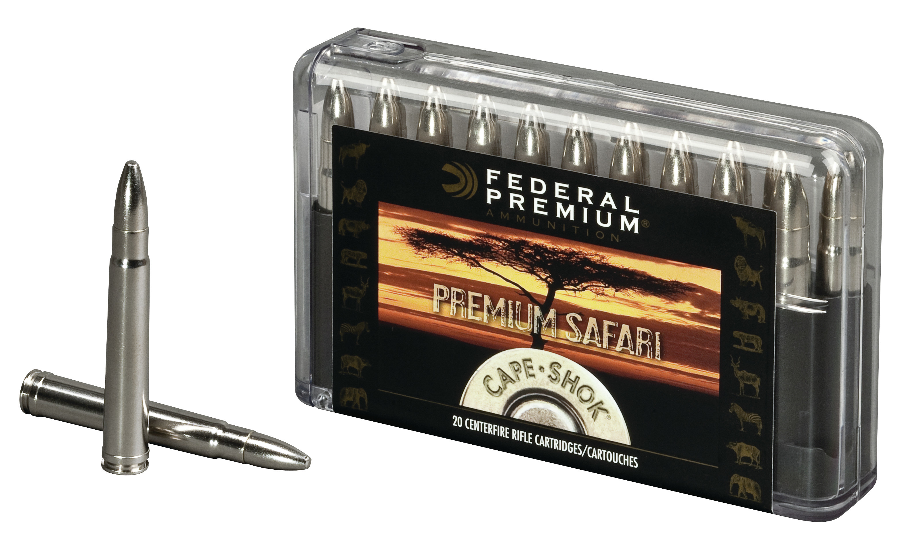 Federal Premium Cape-Shok Ammunition 458 Winchester Magnum 500GR Trophy Bonded Bear Claw Round Nose Per 20