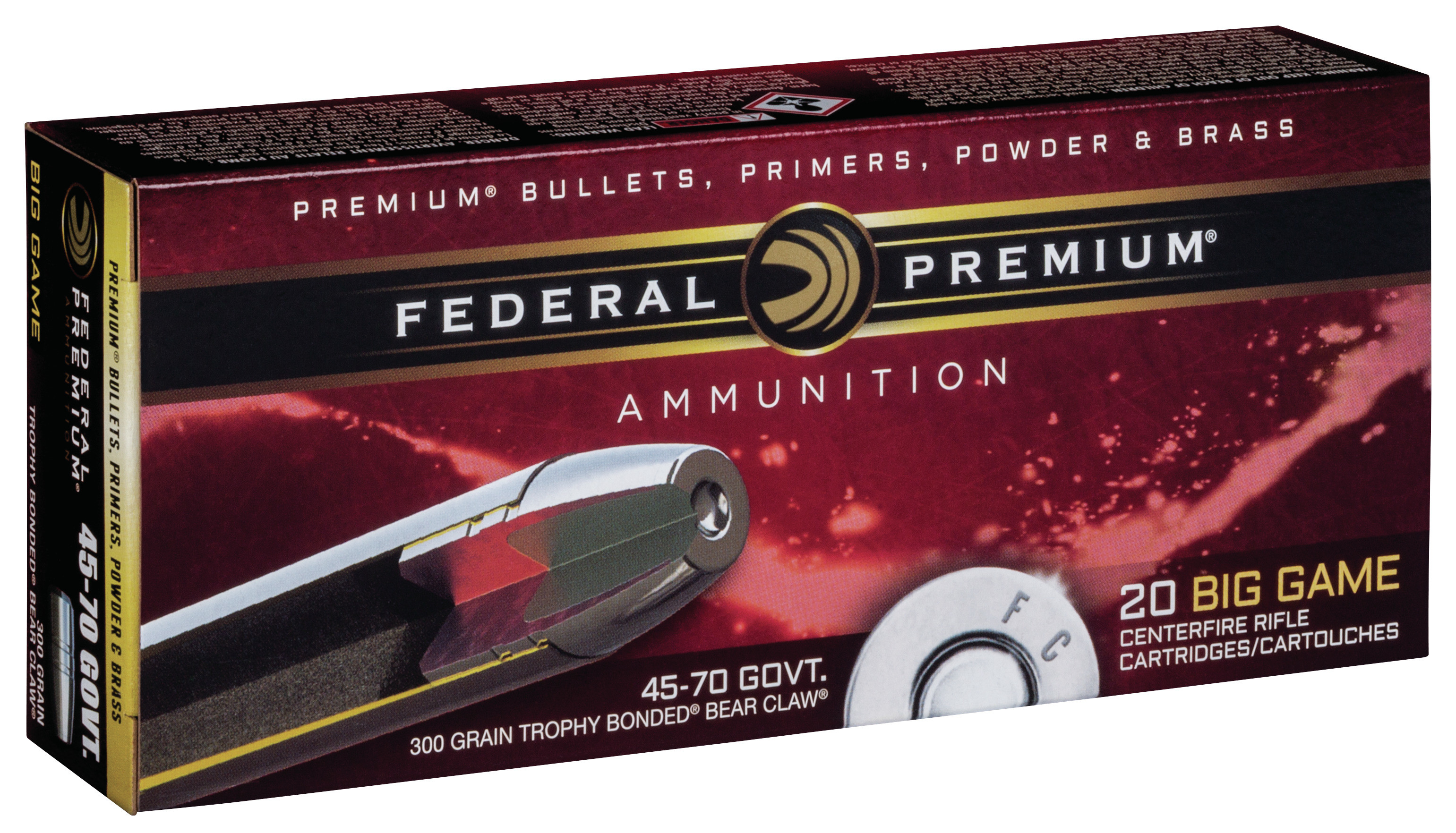 Federal Premium Vital-Shok Ammunition 45-70 Government 300GR Trophy Bonded Bear Claw Round Nose Per 20