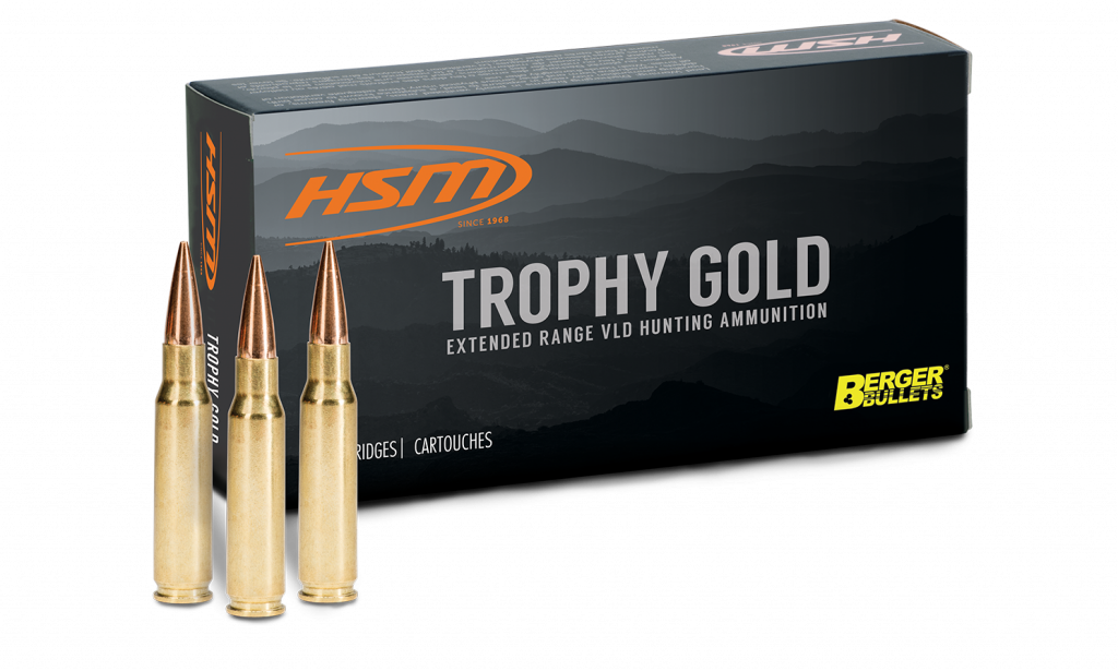 HSM Trophy Gold Ammunition 300 Weatherby Magnum 168GR Berger VLD Hollow Point Boat Tail Per 20