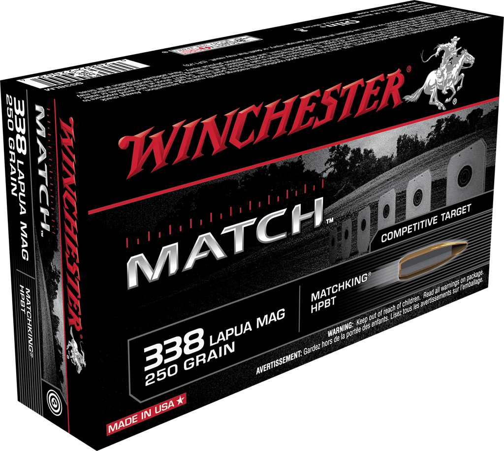 Winchester Match Ammunition 338 Lapua Magnum 250GR Sierra MatchKing Hollow Point Boat Tail Per 20