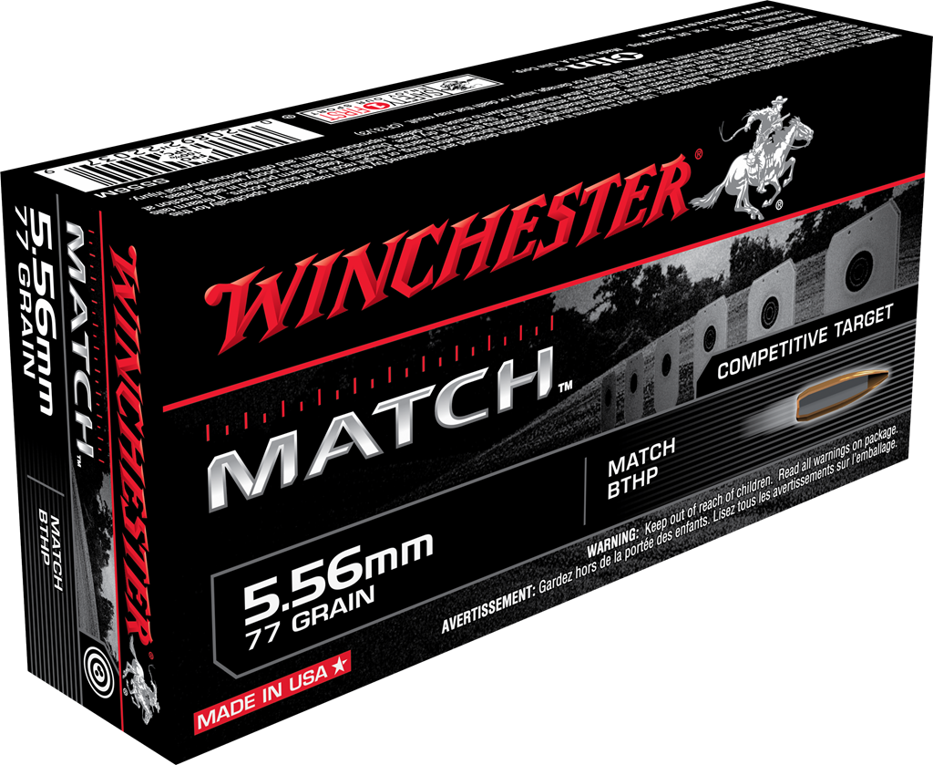 Winchester Match Ammunition 5.56x45mm NATO 77GR Sierra MatchKing Hollow Point Boat Tail Per 20