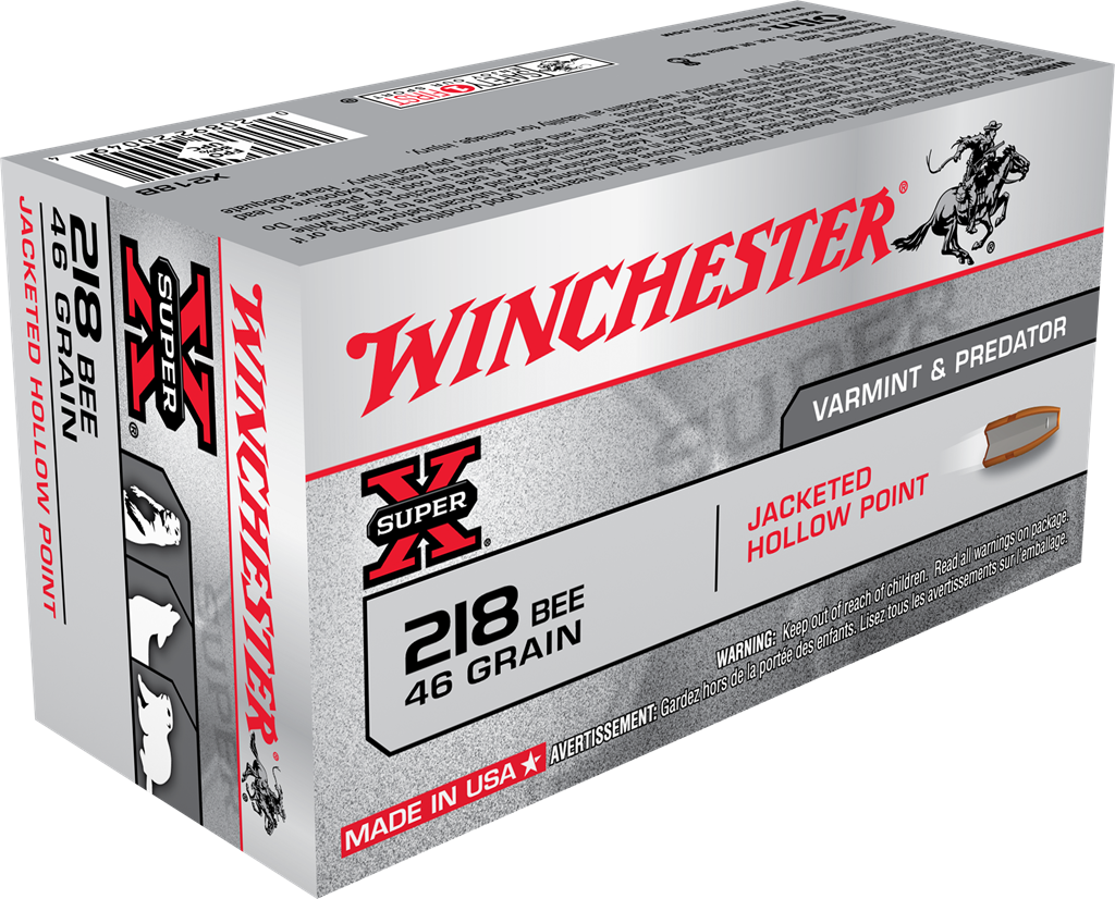 Winchester Super-X Ammunition 218 Bee 46GR Jacketed Hollow Point Per 50