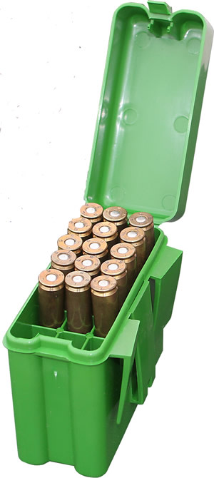 MTM R-20 Flip-Top Belt Carrier Large Rifle Ammo Box 20 Round - Green