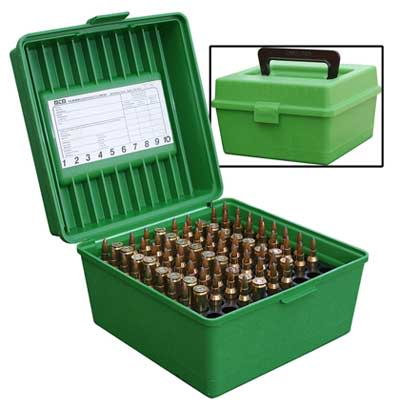 MTM Deluxe R-100 Handled Magnum Rifle Ammo Box 100 Round - Green