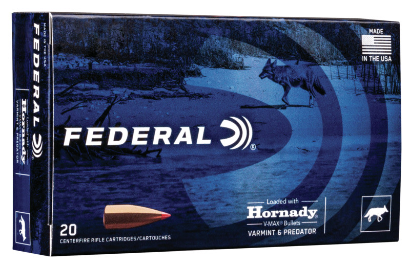 Federal Varmint and Predator Ammunition 223 Remington 53GR Hornady V-Max Polymer Tip Per 20