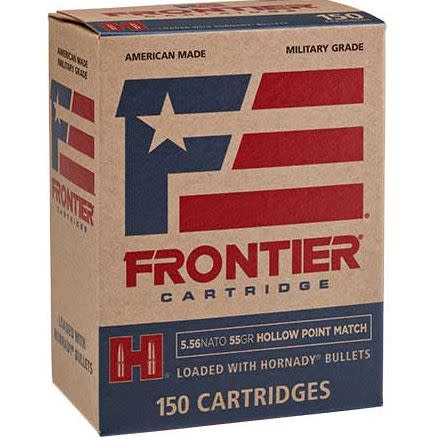 Frontier Cartridge Military Grade Ammunition 5.56x45mm NATO 55GR Hornady Hollow Point Boat Tail Per 150