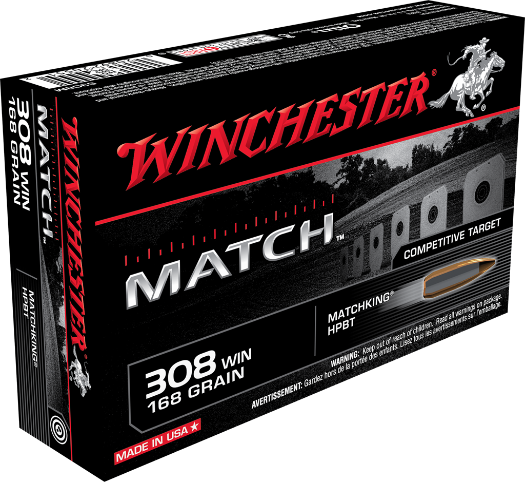 Winchester Match Ammunition 308 Winchester 168GR Sierra MatchKing Hollow Point Boat Tail Per 20