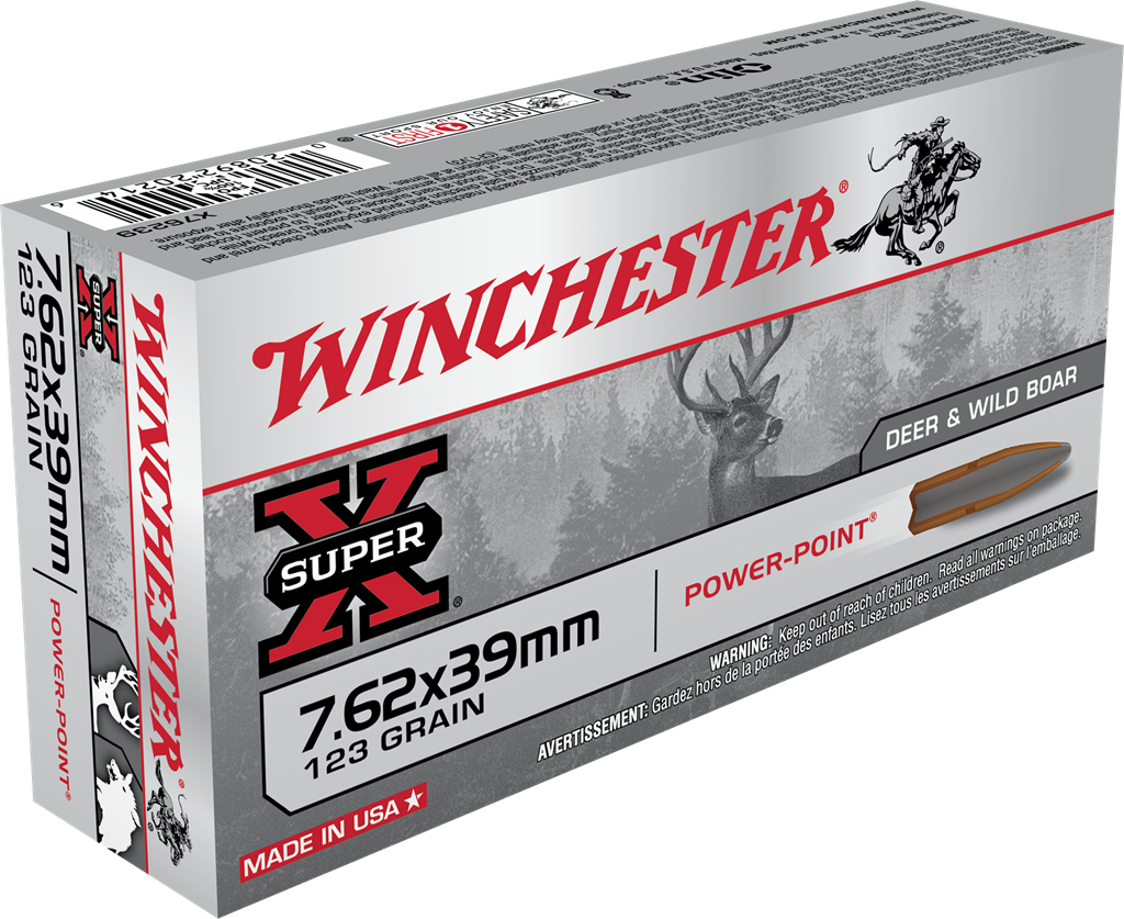 Winchester Super-X Ammunition 7.62x39mm 123GR Power Point Jacketed Soft Point Per 20