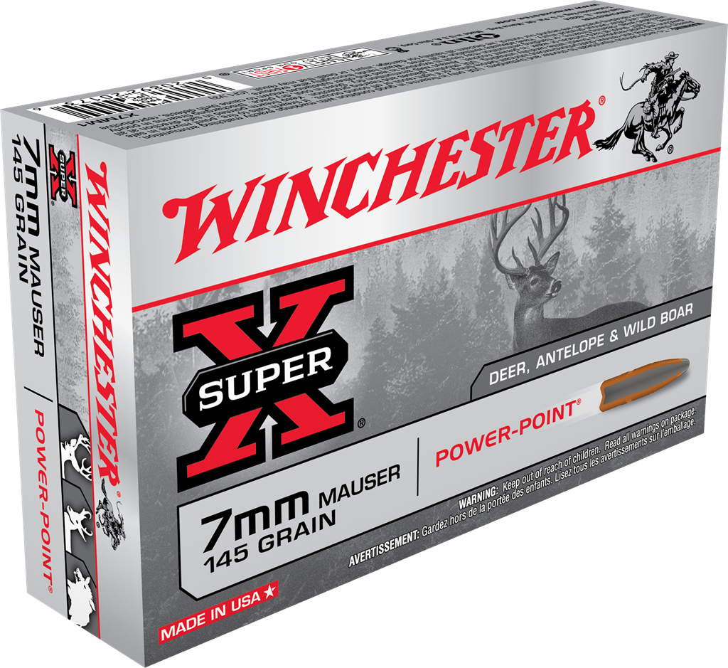 Winchester Super-X Ammunition 7x57mm Mauser 145GR Power Point Jacketed Soft Point Per 20