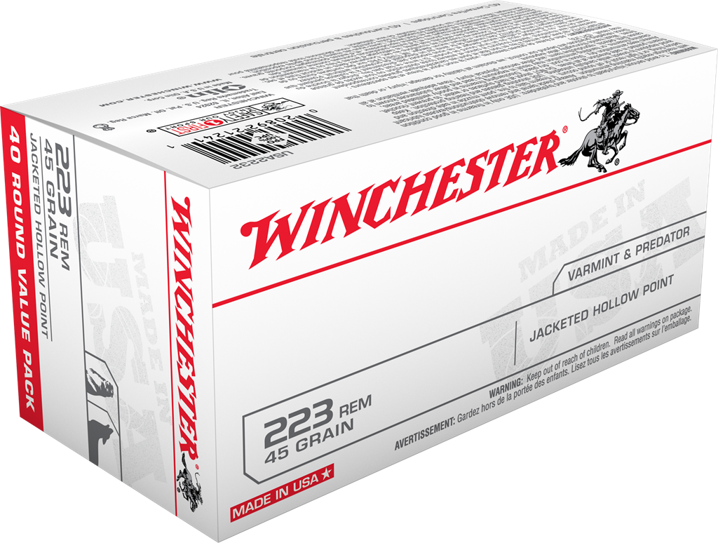 Winchester USA Ammunition 223 Remington 45GR Jacketed Hollow Point Per 40