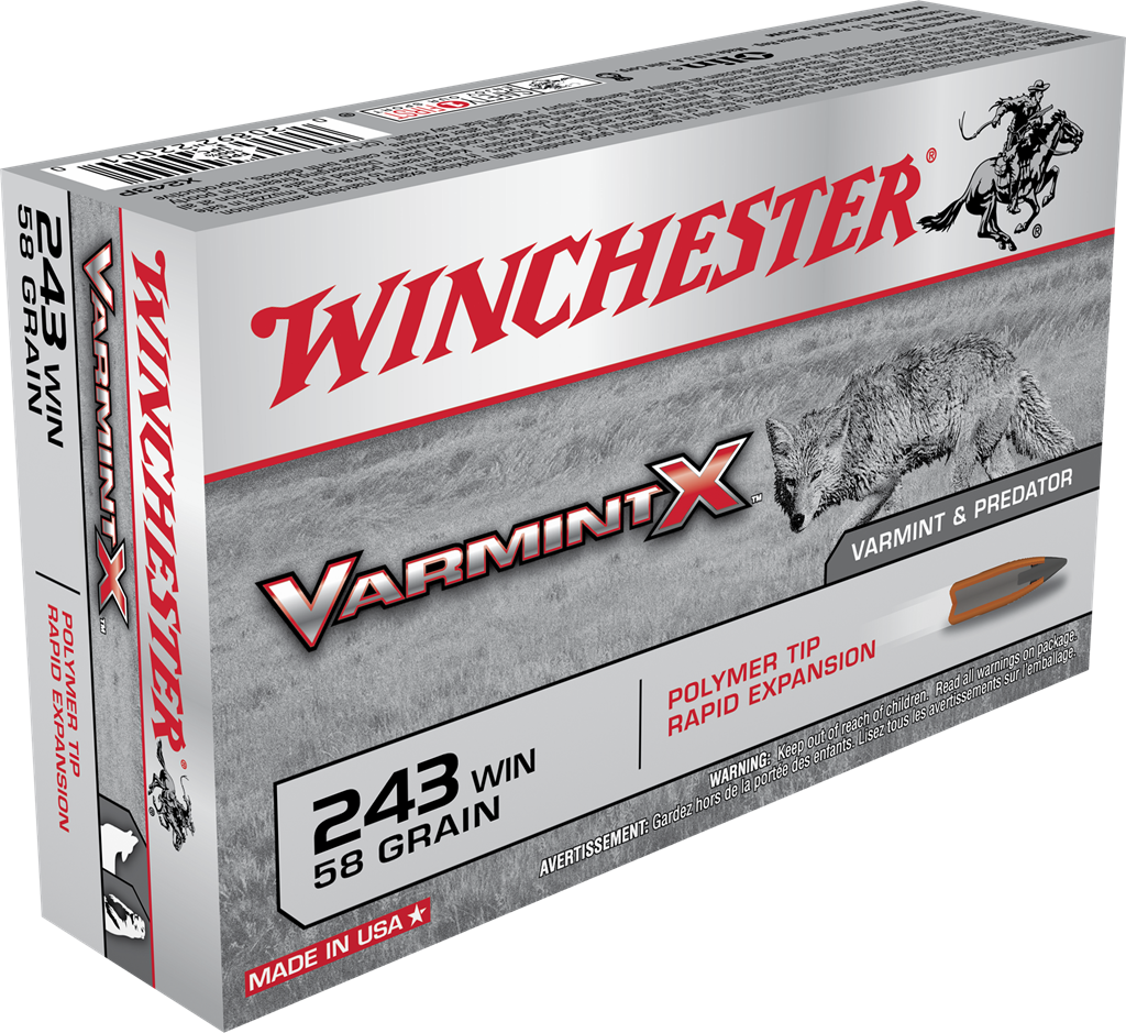 Winchester Varmint X Ammunition 243 Winchester 58GR Rapid Expansion Polymer Tip Per 20