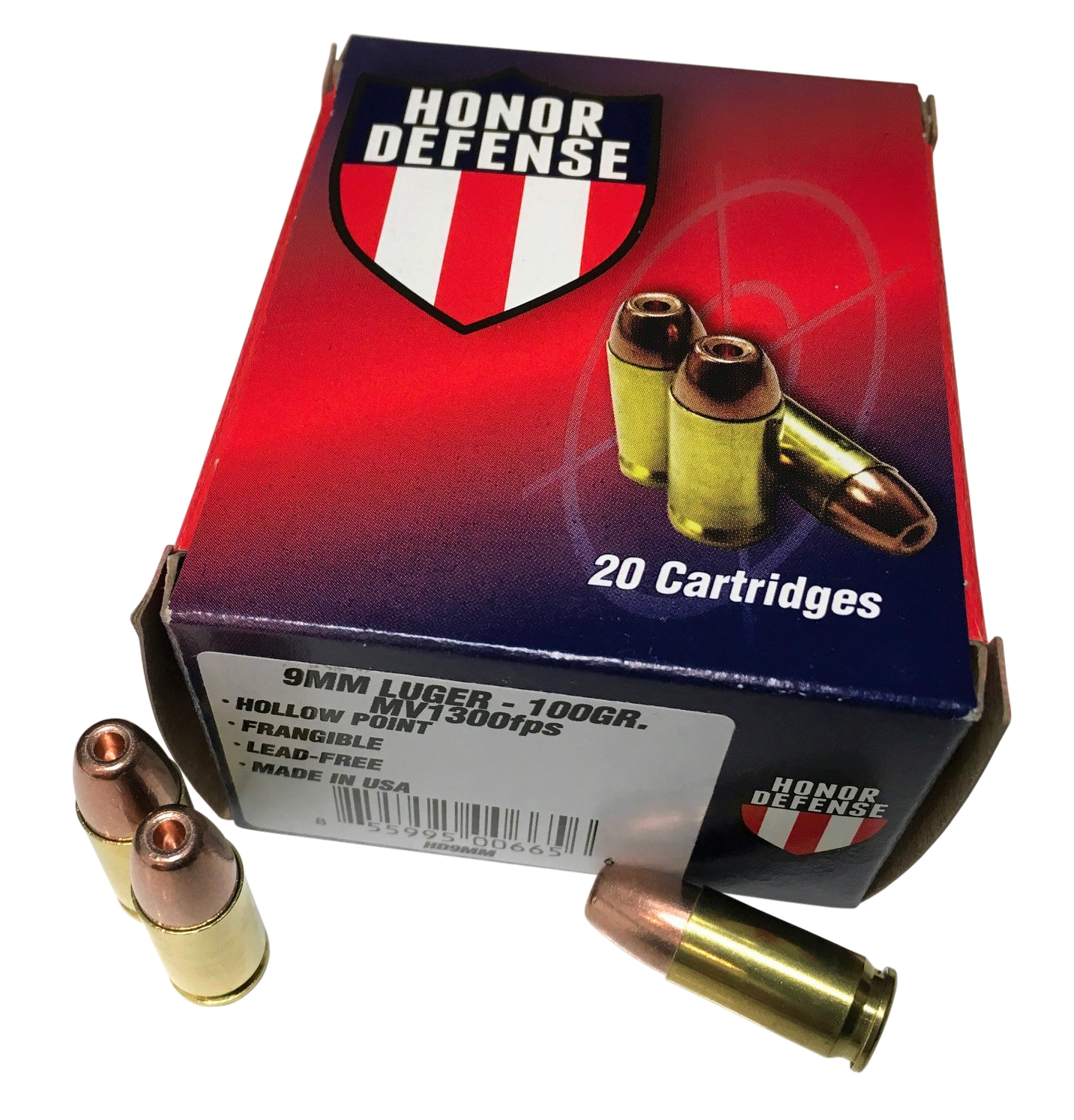 Honor Defense Ammunition 9mm Luger 100GR Frangible Hollow Point Per 20