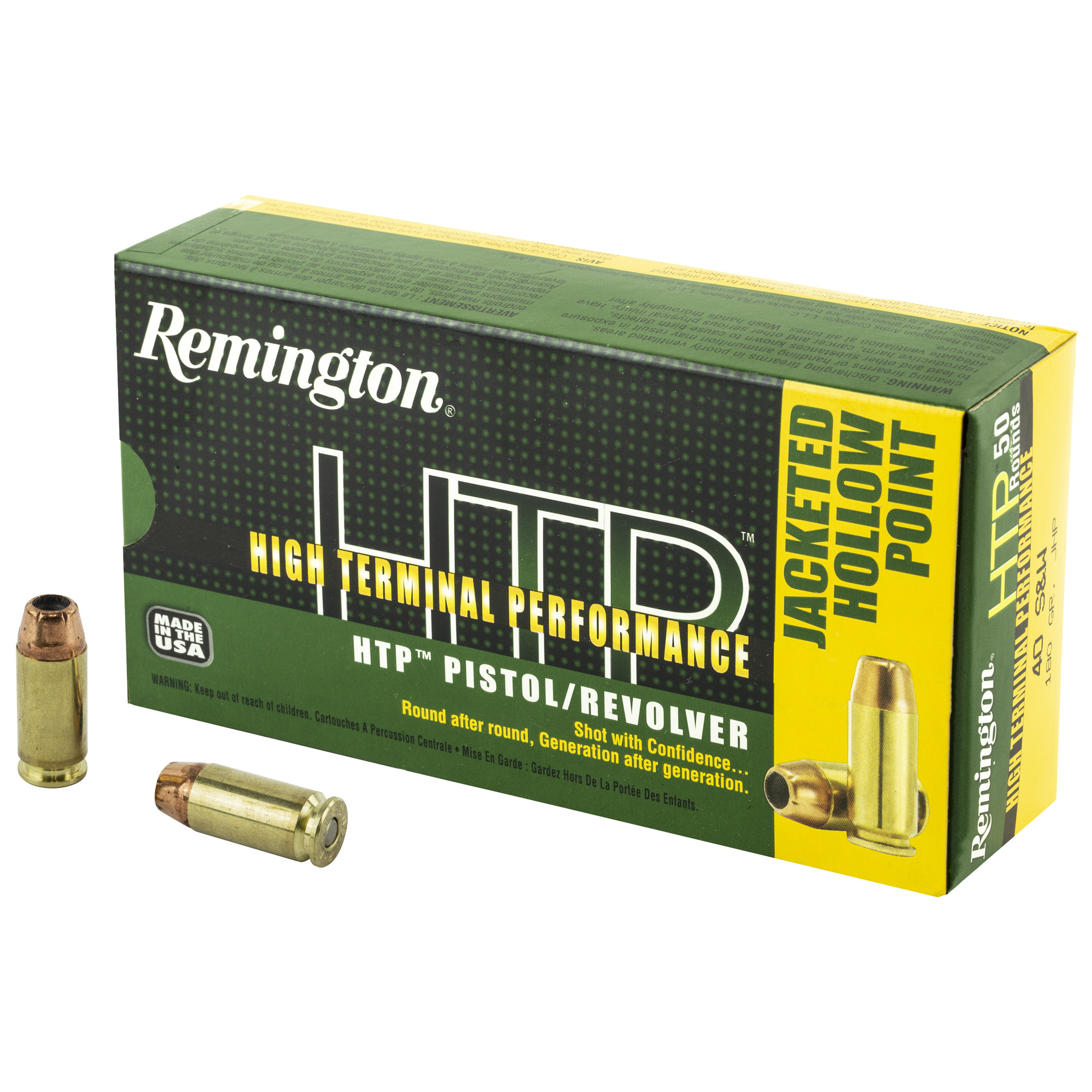 Remington HTP Ammunition 40 S&W 180GR Jacketed Hollow Point Per 20