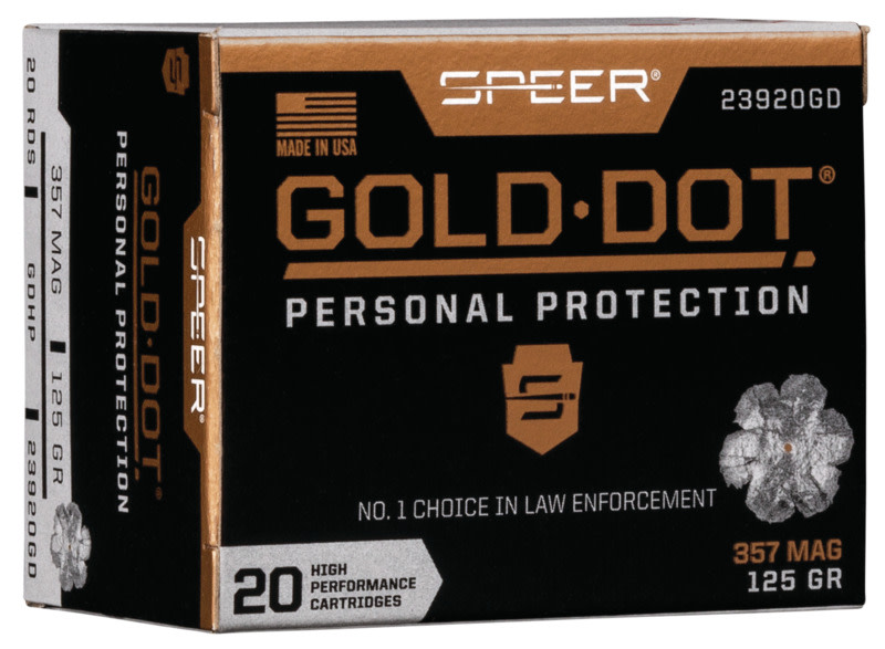 Speer Gold Dot Ammunition 357 Magnum 125GR Bonded Jacketed Hollow Point Per 20
