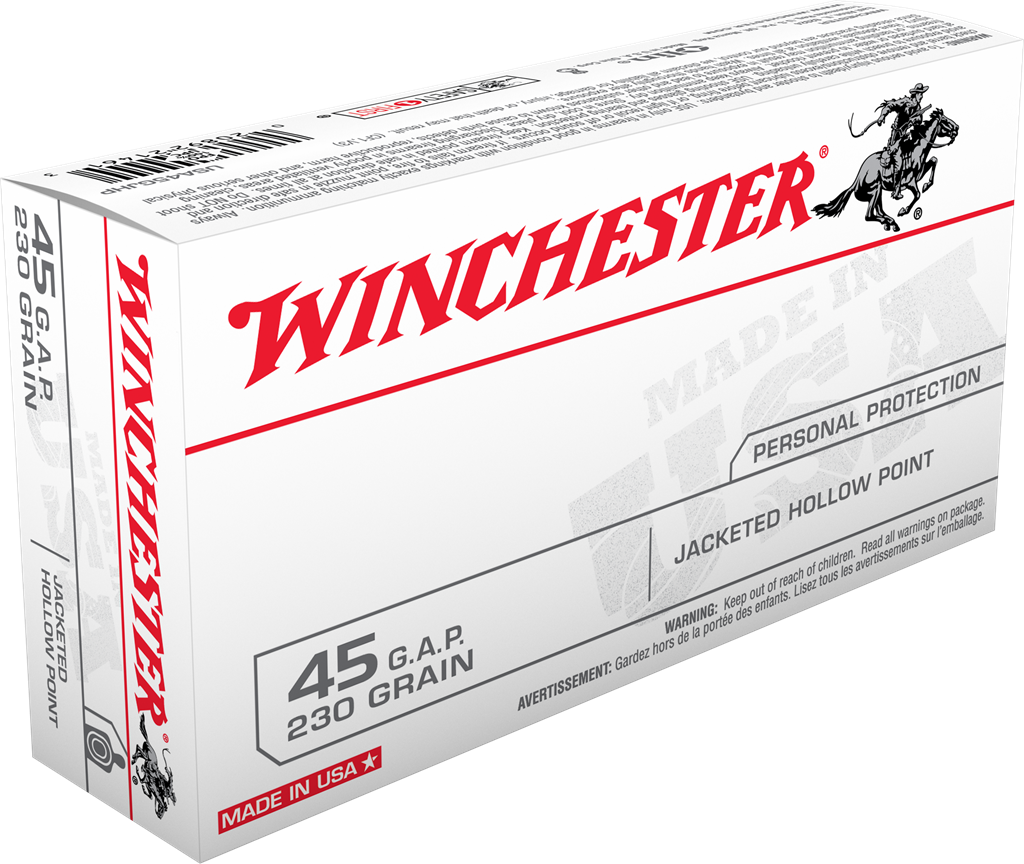 Winchester USA Ammunition 45 GAP 230GR Jacketed Hollow Point Per 50