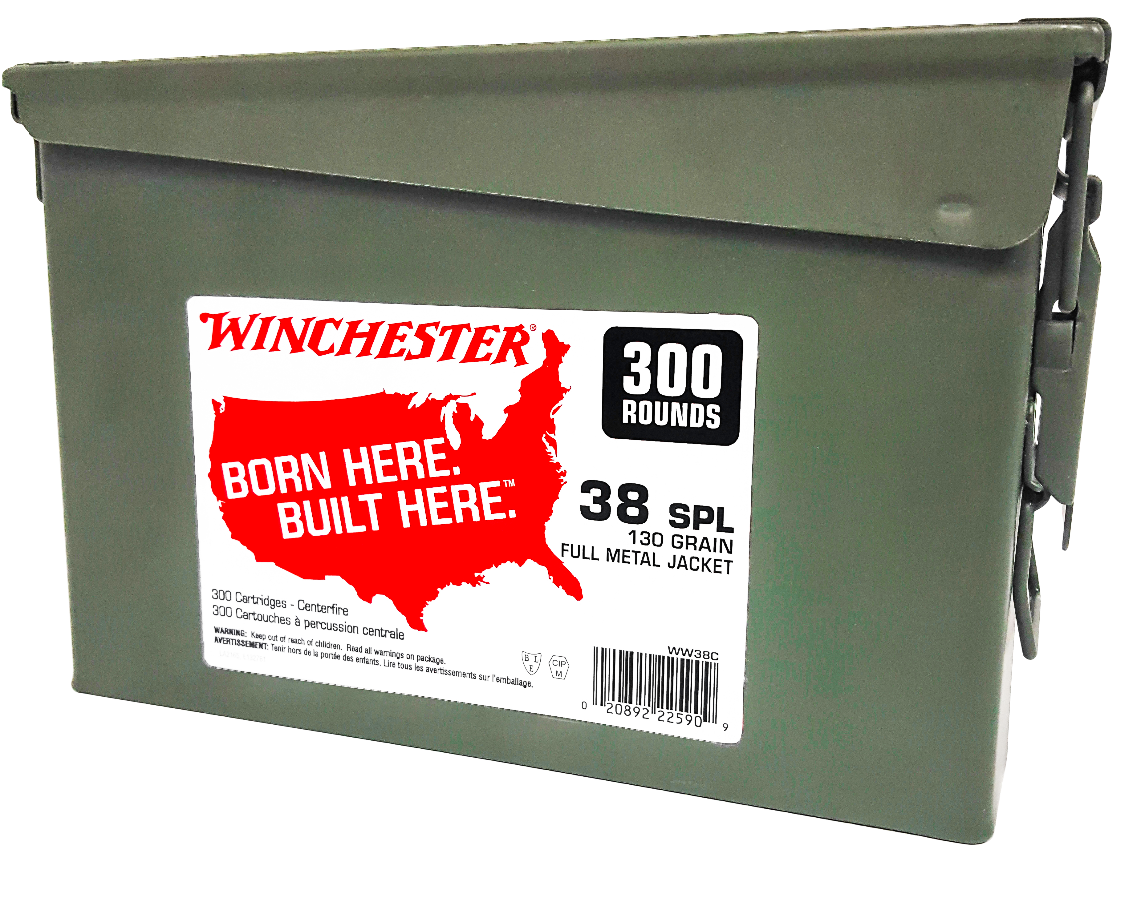Winchester USA Ammunition 38 Special 130GR Full Metal Jacket Per 300