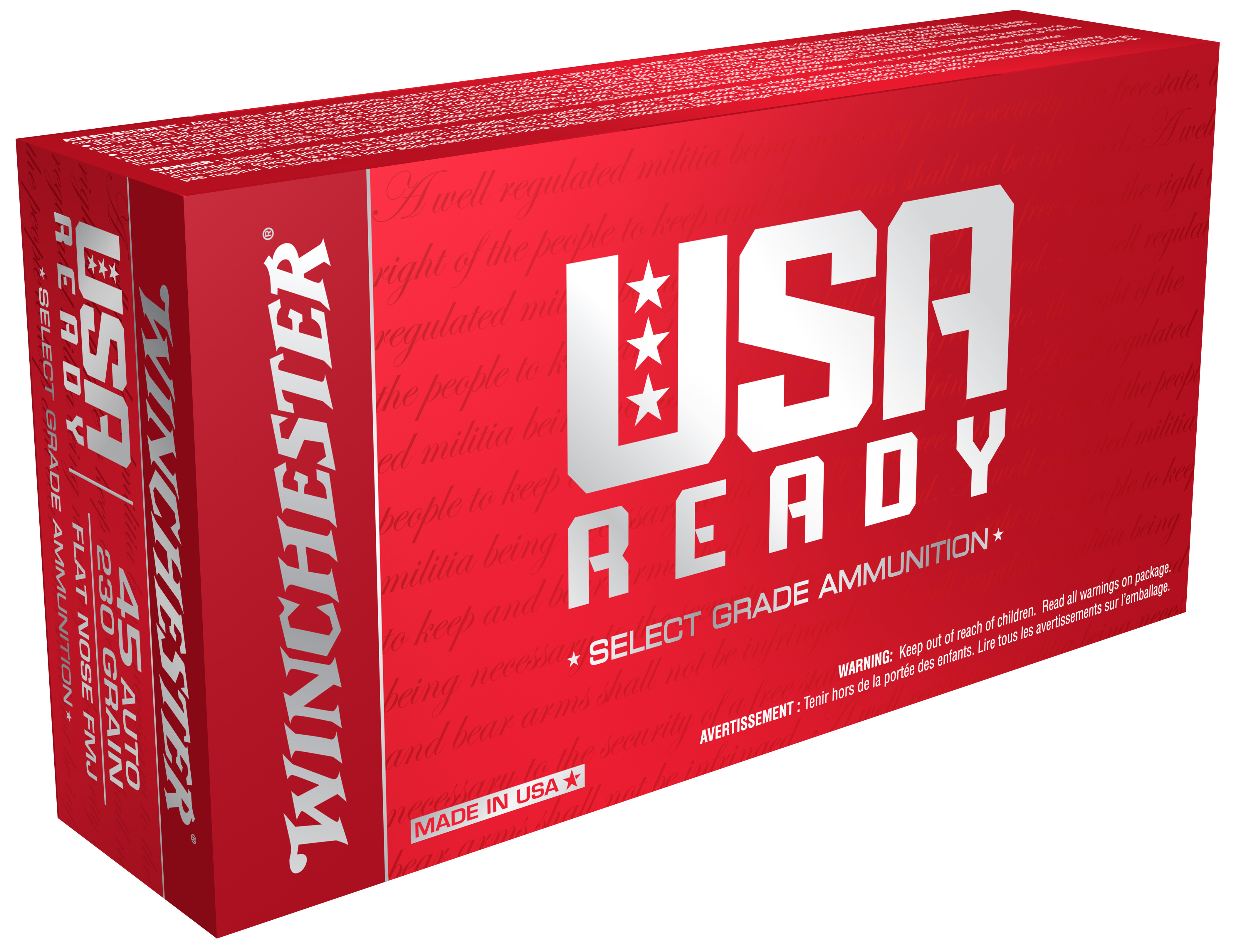 Winchester USA Ready Ammunition 45 Auto (ACP) 230GR Full Metal Jacket Per 50