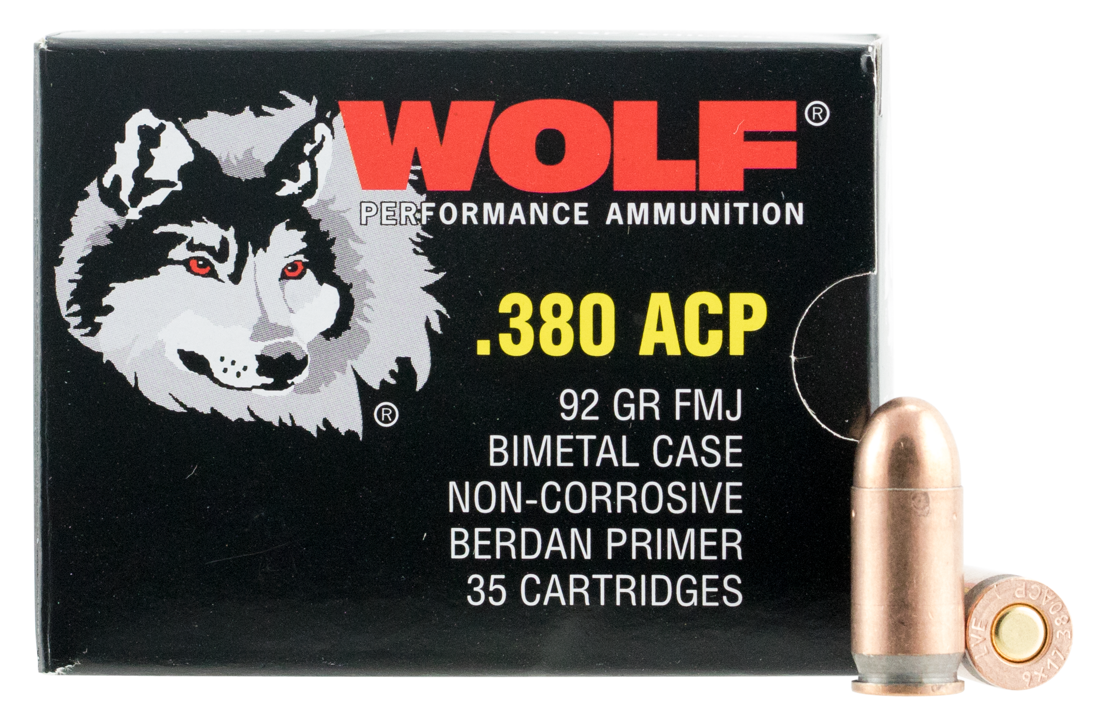 Wolf PolyFormance Ammunition 380 Auto (ACP) 91GR Full Metal Jacket Per 1000