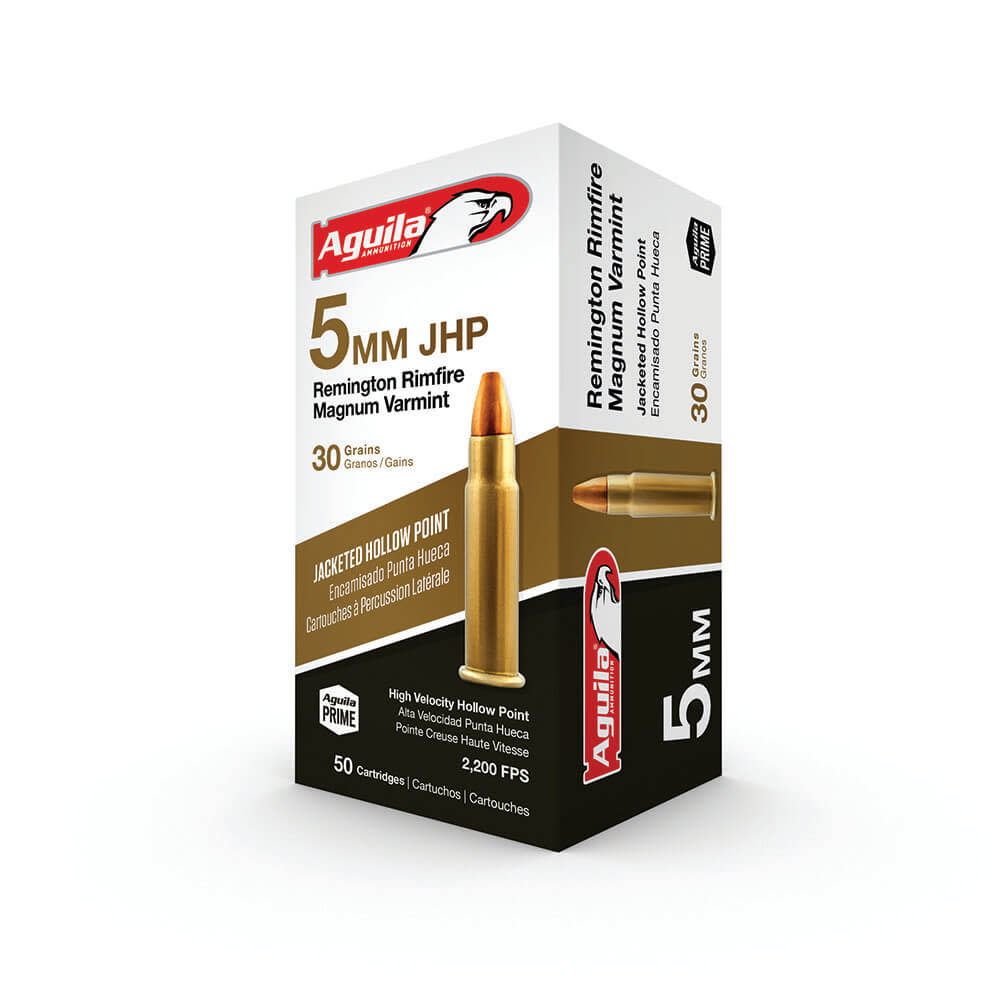 Aguila Ammunition 5mm Remington Magnum 30GR Jacketed Hollow Point Per 50
