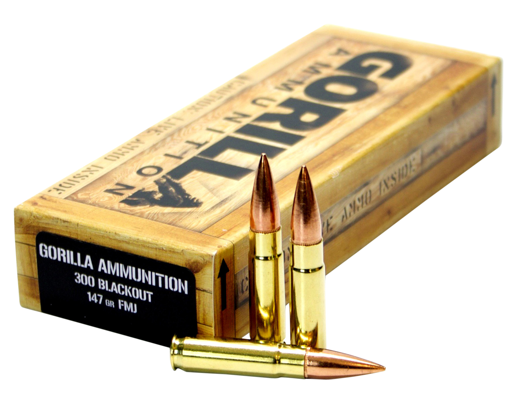 Gorilla Match Ammunition 300 AAC Blackout 147GR Full Metal Jacket Per 20