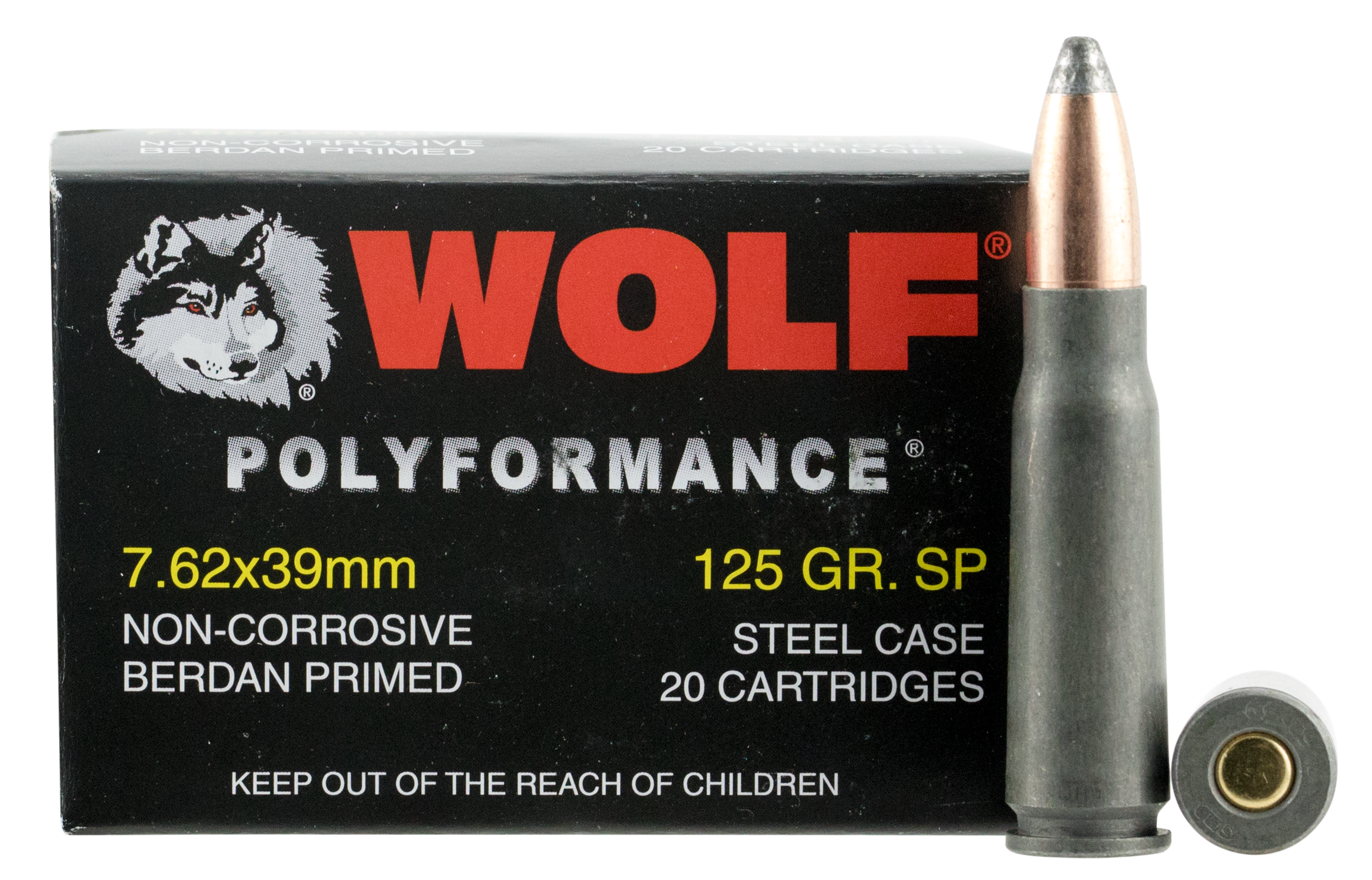 Wolf PolyFormance Ammunition 7.62x39mm 155GR Soft Point Per 20