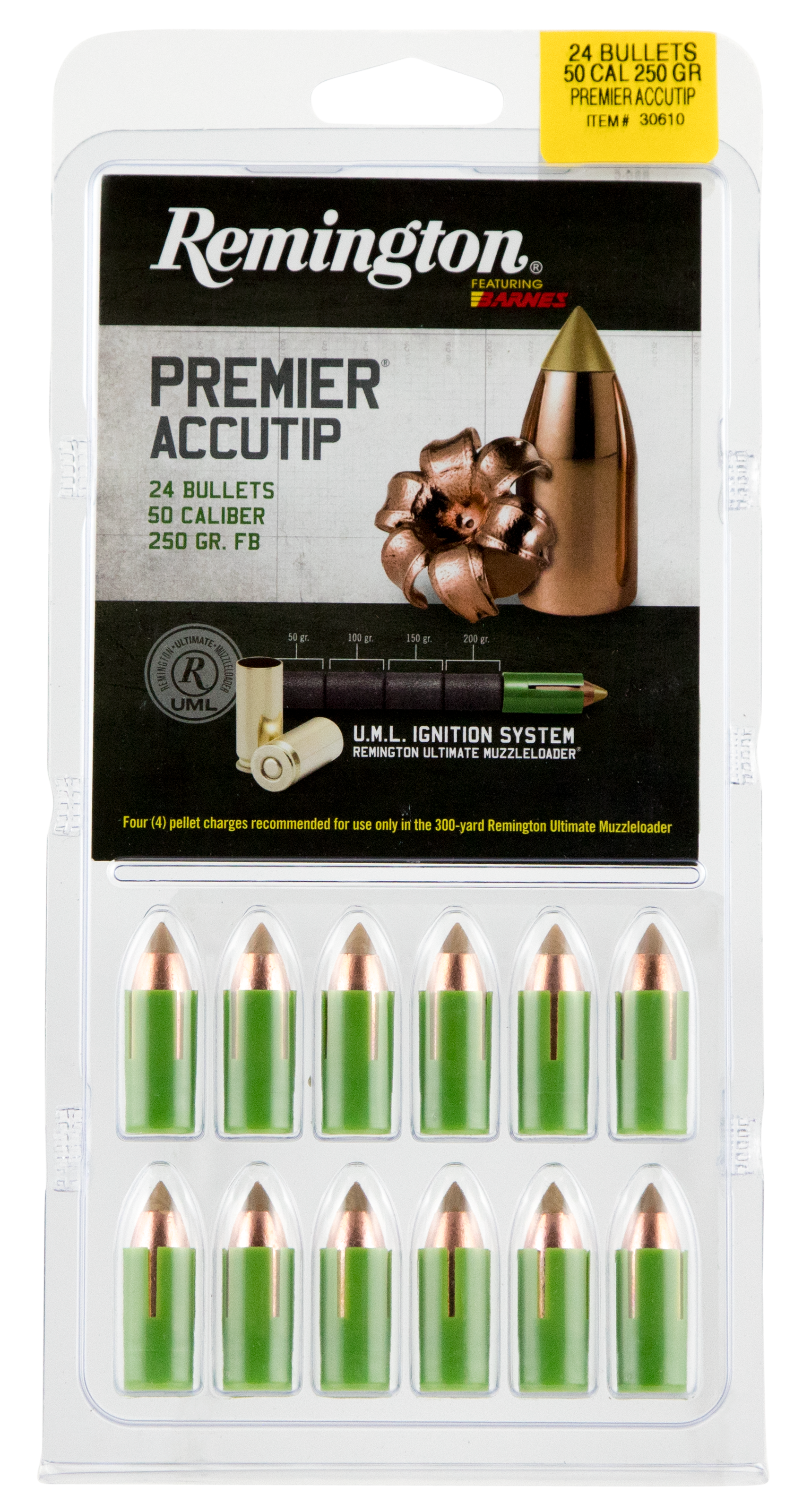 Remington Premier AccuTip Saboted Bullets - .50 Caliber 250GR Polymer Tip Flat Base Per 24