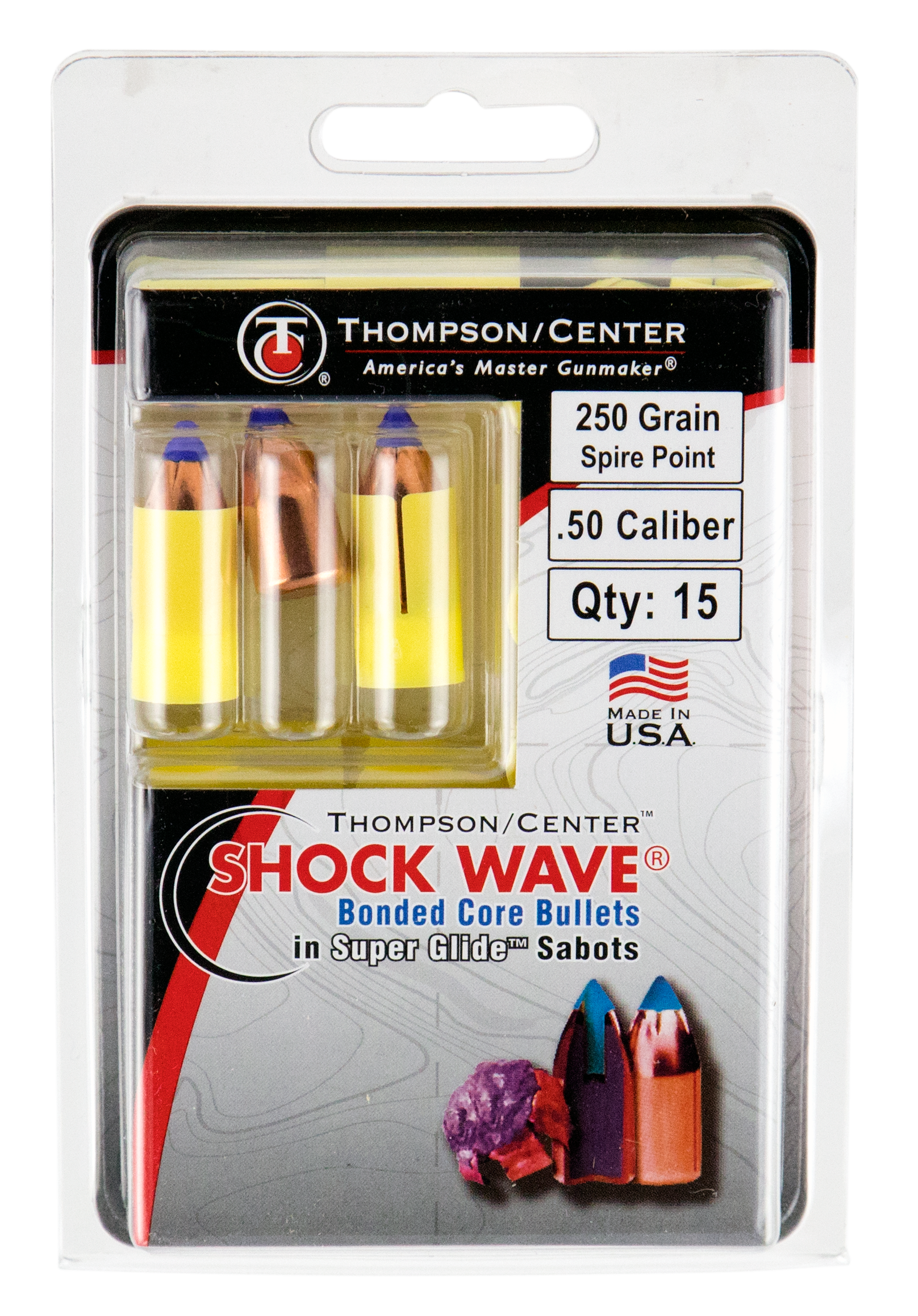 T/C Shock Wave Bonded Core Super Glide Saboted Bullets - .50 Caliber 250GR Polymer Tip Flat Base Per 15
