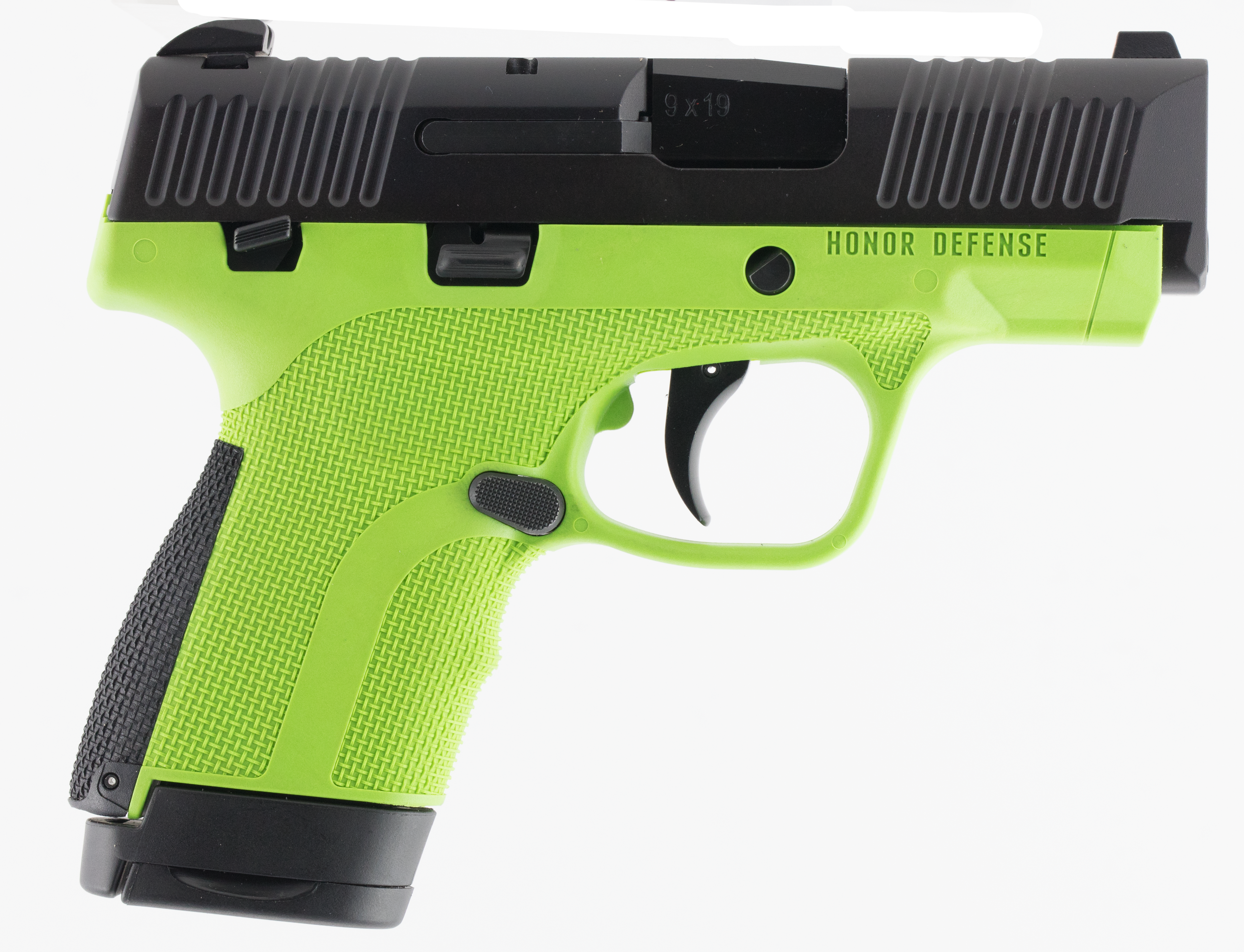 Honor Defense Honor Guard Pistol - 9mm 7+1/8+1 - Manual Safety - Acid Green/Black
