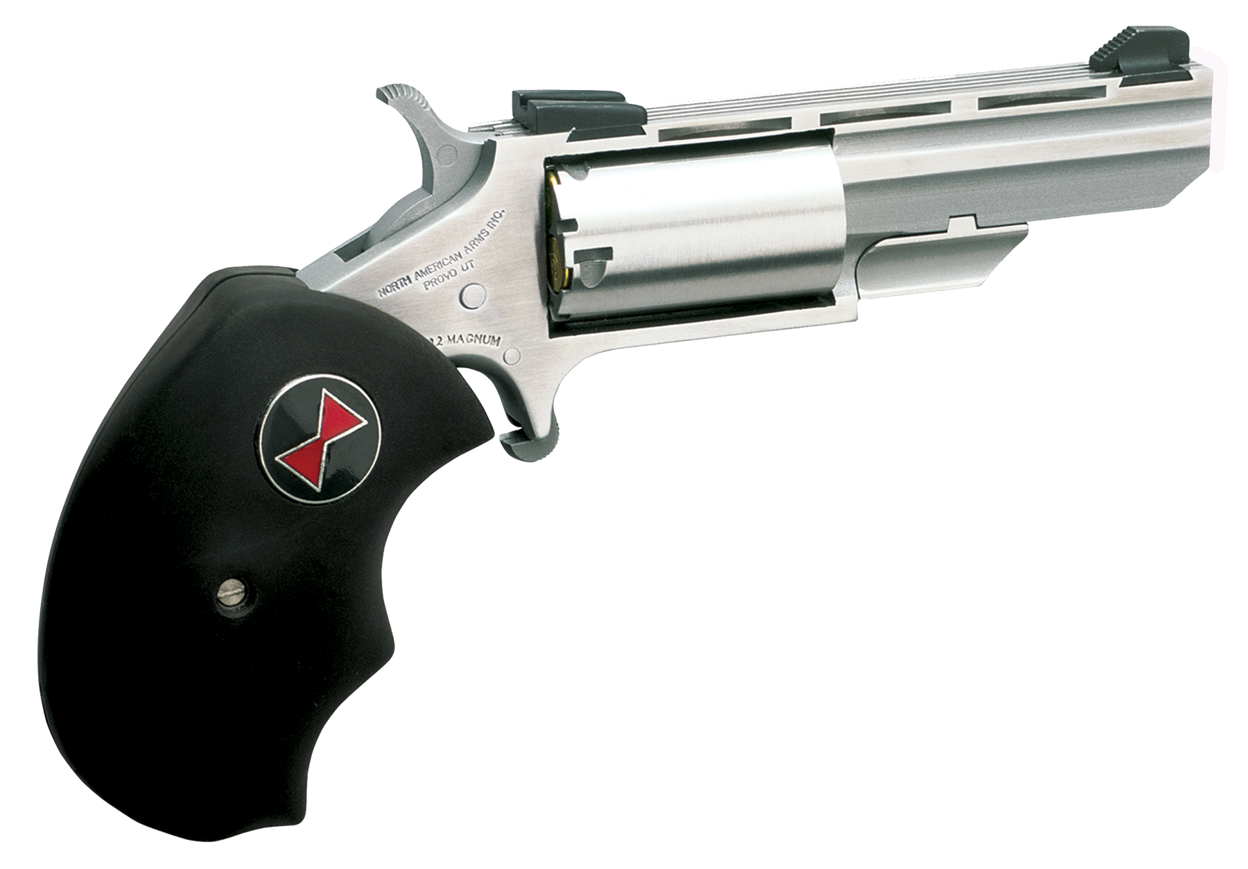 NAA Black Widow Revolver - .22 LR/.22 Magnum 5rd - Black/Stainless