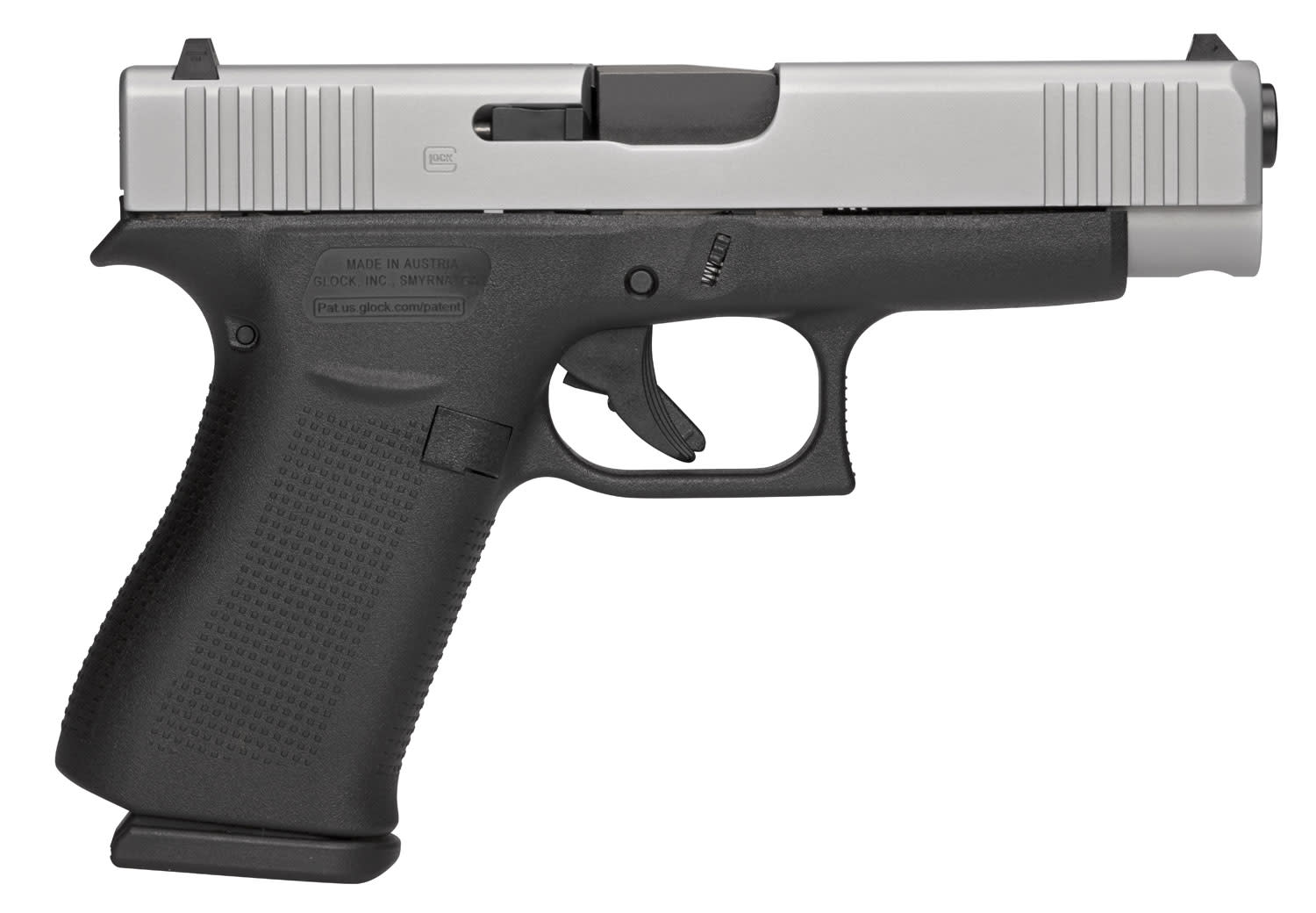 GLOCK® G48 Pistol - 9mm 10+1 - Night Sights - Front Serrations - Black with Silver PVD Slide