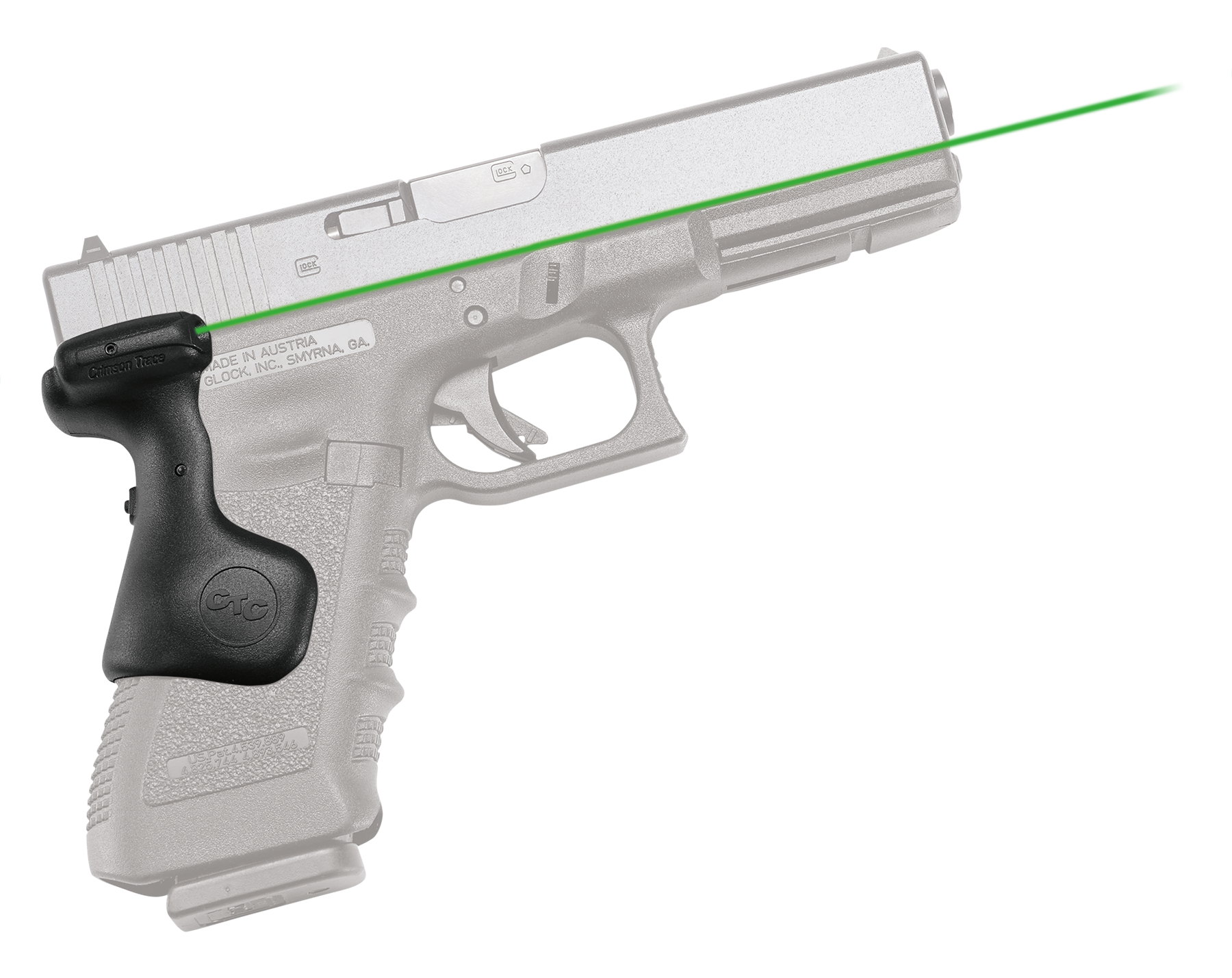 Crimson Trace® Lasergrips® - GLOCK® Gen 3/4/5 Full Size - Rear Activation - Green Laser