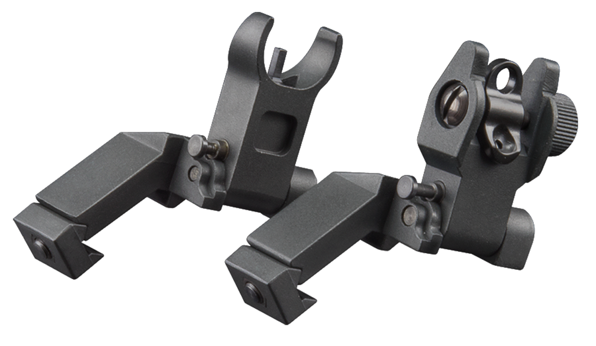 Aim Sports MT45FS Flip-Up Sights  - 45 Degree Low Profile AR Aluminum Black