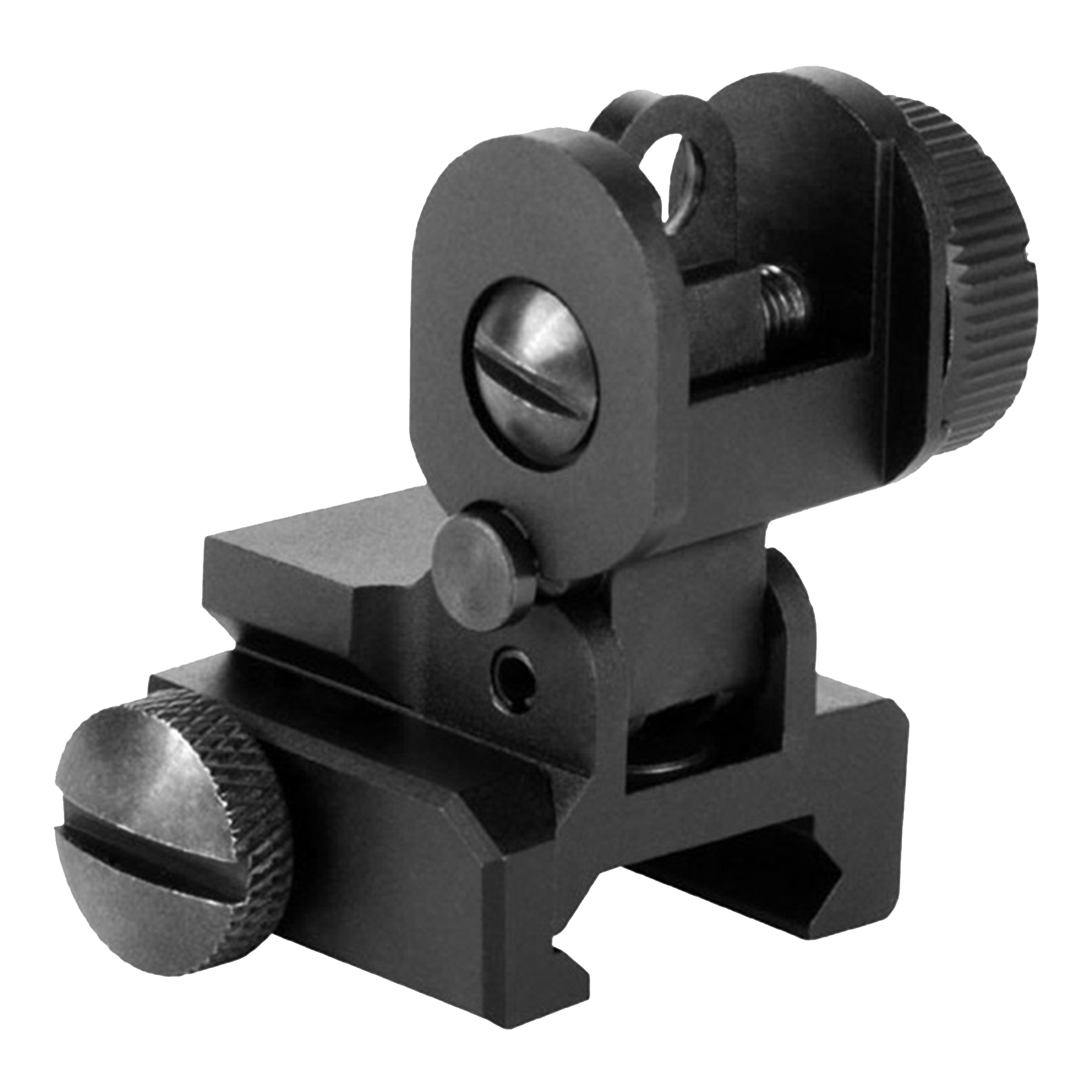 Aim Sports MT035 A2 Dual Aperture Rear Flip-Up Sight - AR-15/M16 Aluminum Black