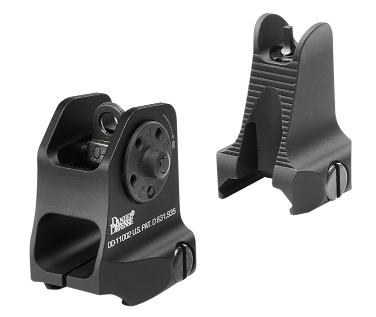 Daniel Defense 1908809116 Rock and Lock Fixed Front/Rear Sights -  AR-15 Aluminum Black