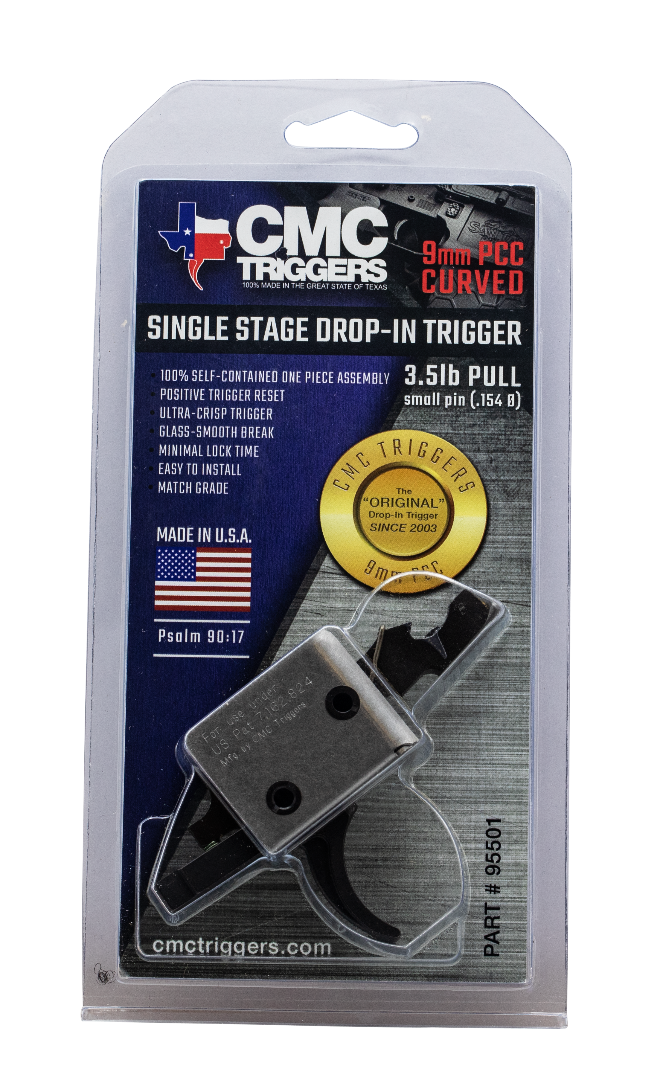 CMC Triggers 95501 PCC Single Stage Curved Bow Drop-In Trigger - AR-15/AR-10