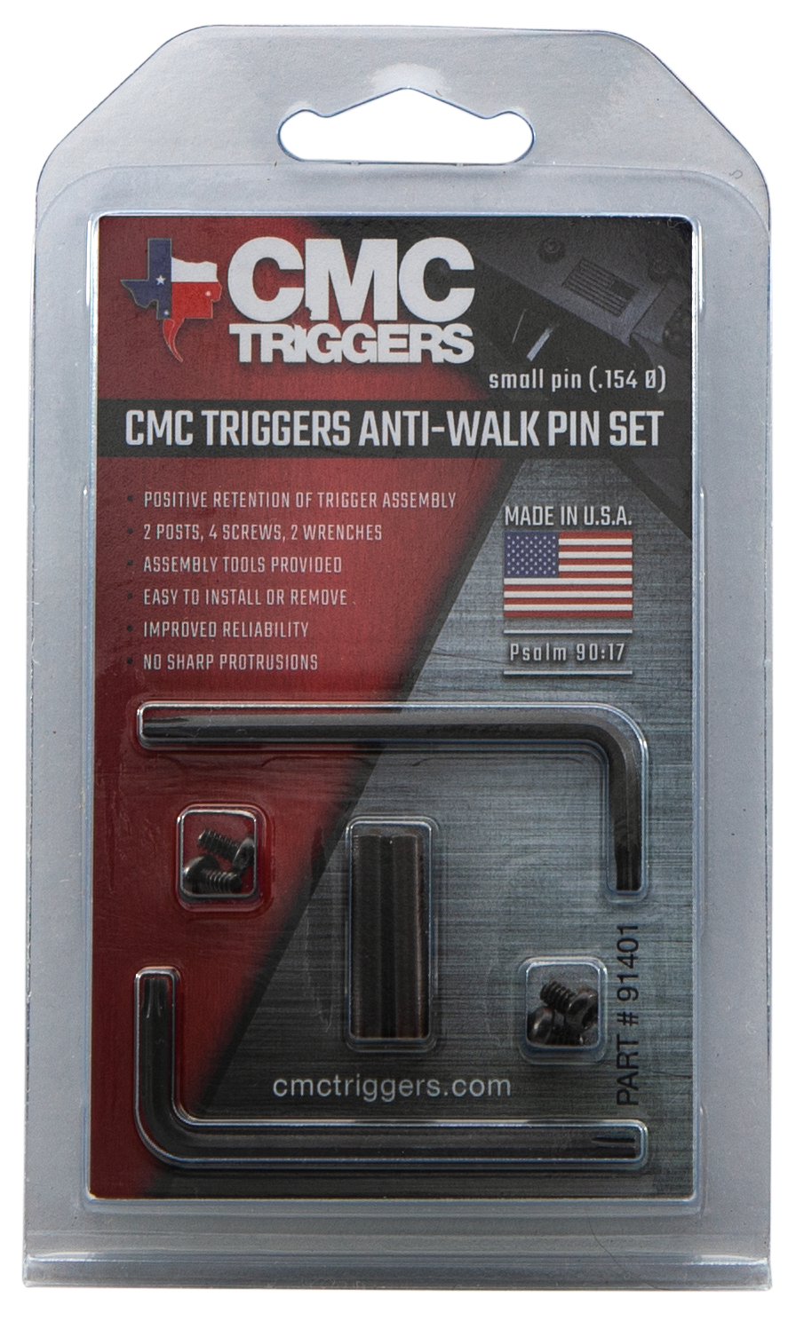 CMC Triggers 91401 Anit-Walk Pin Set  - AR-15 Small Diameter Black