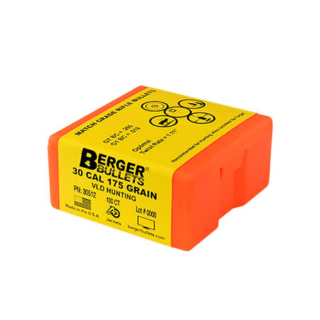 Berger Hunting VLD Rifle Bullets .30 Caliber (0.308 Diameter) 175GR Hollow Point Boat Tail Per 100