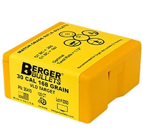 Berger Target VLD Rifle Bullets .30 Caliber (0.308 Diameter) 168GR Hollow Point Boat Tail Per 100
