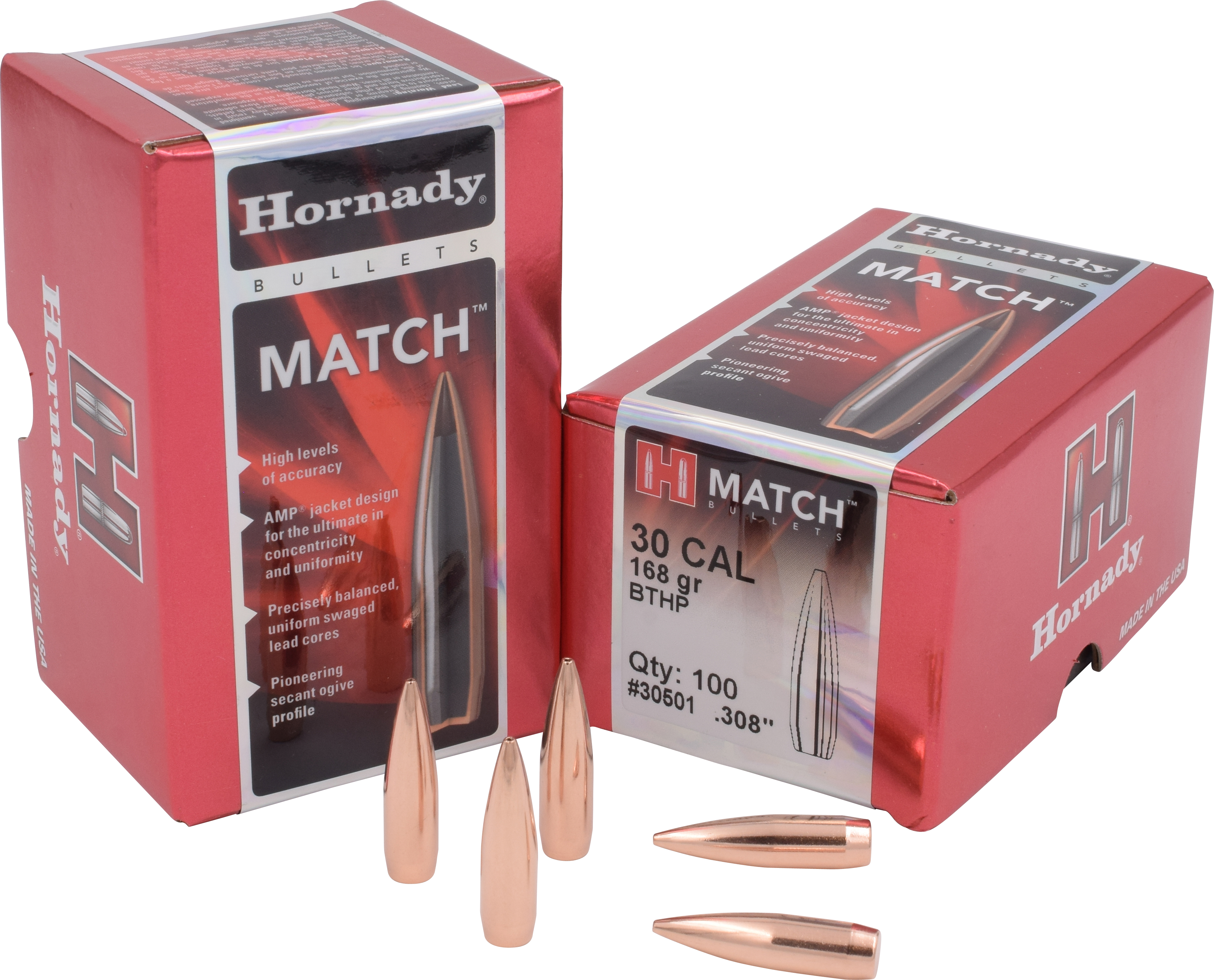 Hornady Match Rifle Bullets .30 Caliber (0.308 Diameter) 168GR Hollow Point Boat Tail Per 100