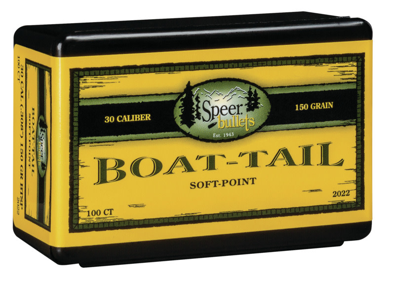 Speer Boat-Tail Rifle Bullets .30 Caliber (0.308 Diameter) 150GR Jacketed Soft Point Boat Tail Per 100