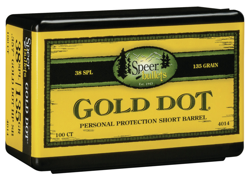 Speer Gold Dot Personal Protection Pistol Bullets 38 Special, 357 Magnum (0.357 Diameter) 135GR Hollow Point Per 100