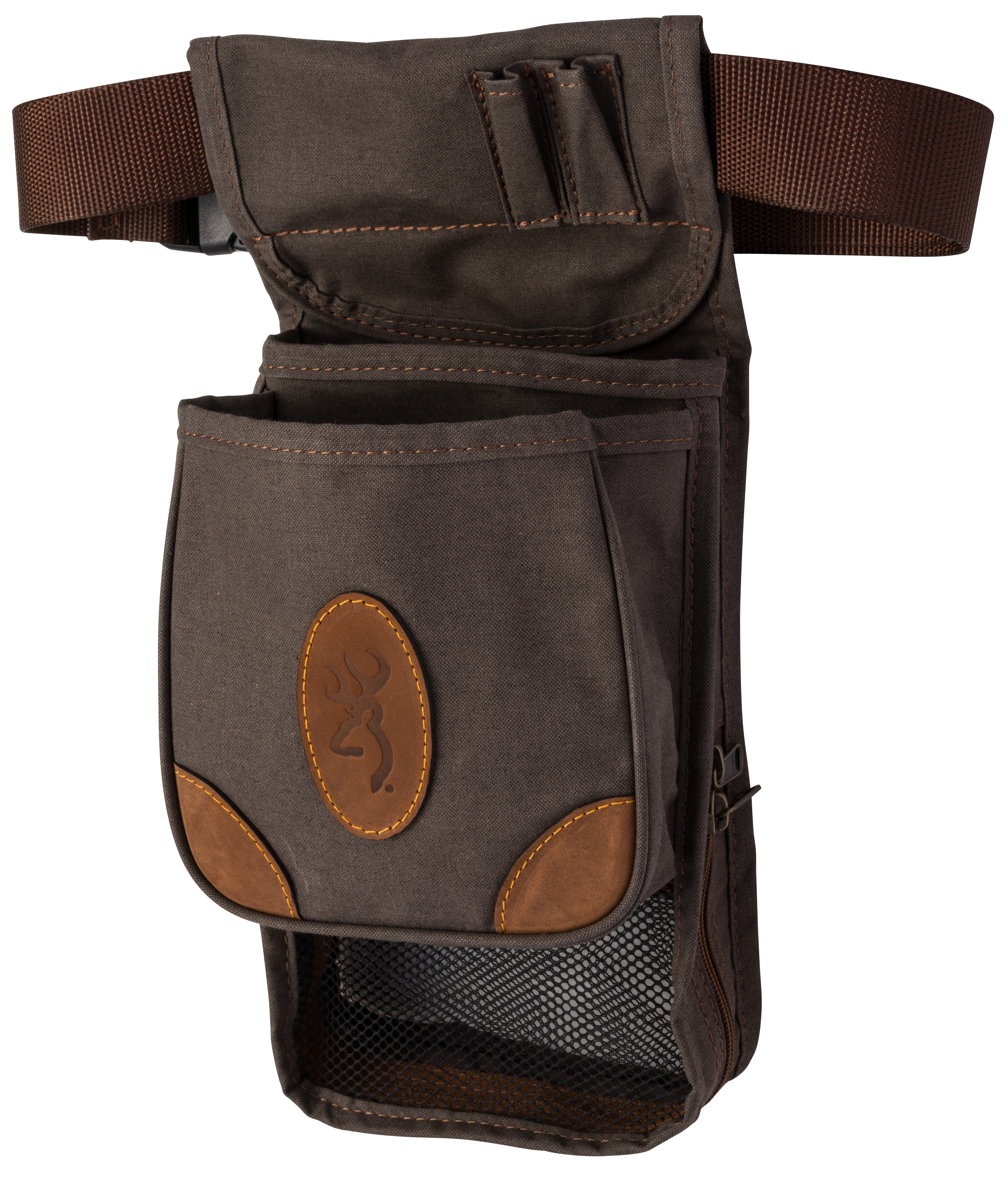 Browning Lona Canvas/Leather Large Deluxe Shell Pouch - Flint/Brown