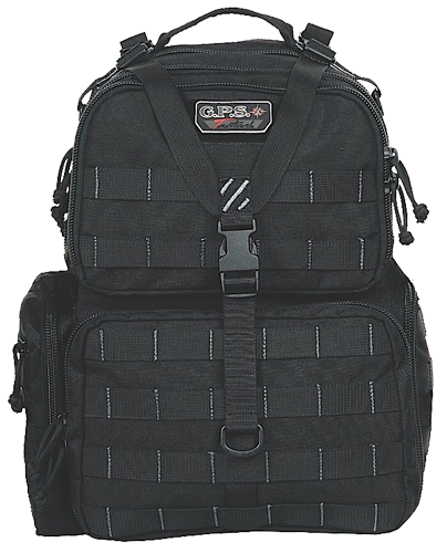 G•Outdoors Tactical Range Bag/Backpack 3 Removable Handgun Storage Cases - Black