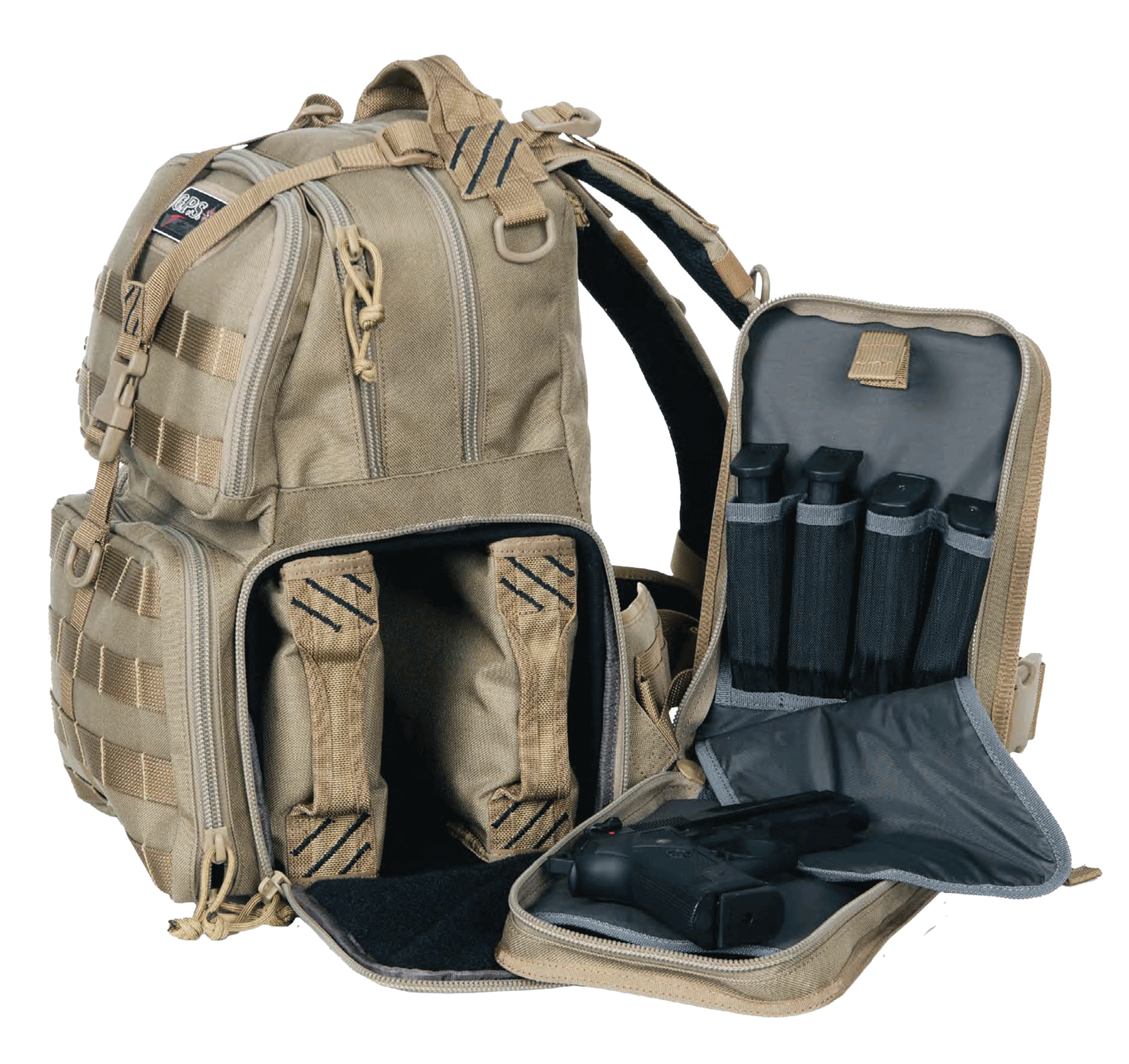 G•Outdoors Tactical Range Bag/Backpack 3 Removable Handgun Storage Cases - Tan