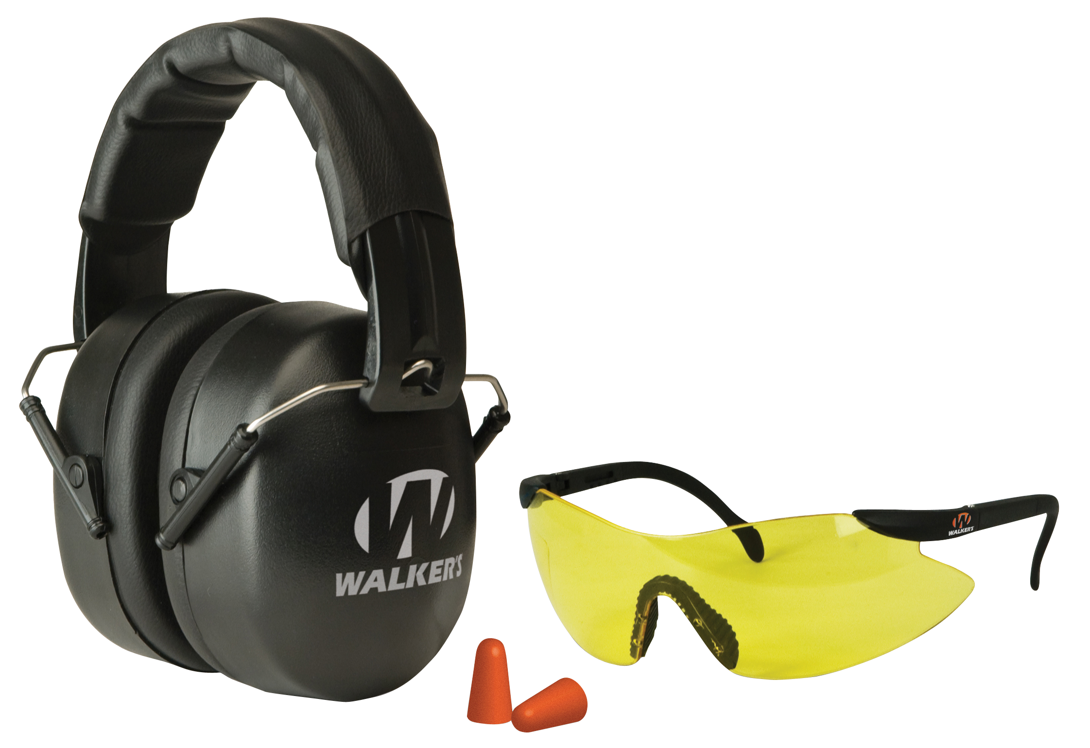 Walker's Passive EXT Safety Eye/Ear Combo NRR 34 Db Earmuffs - Yellow Lens Glasses