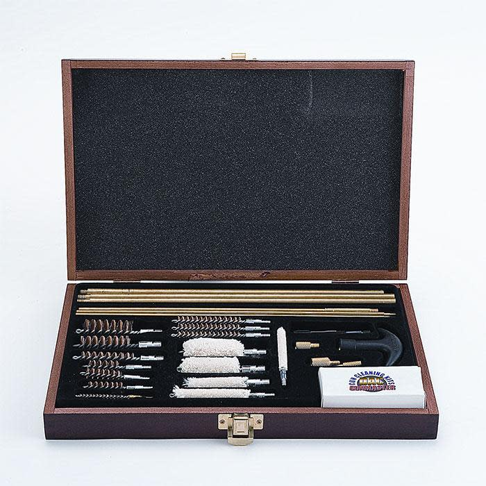 Gunmaster Deluxe Universal Gun Cleaning Kit - 35 Piece - Wood Case